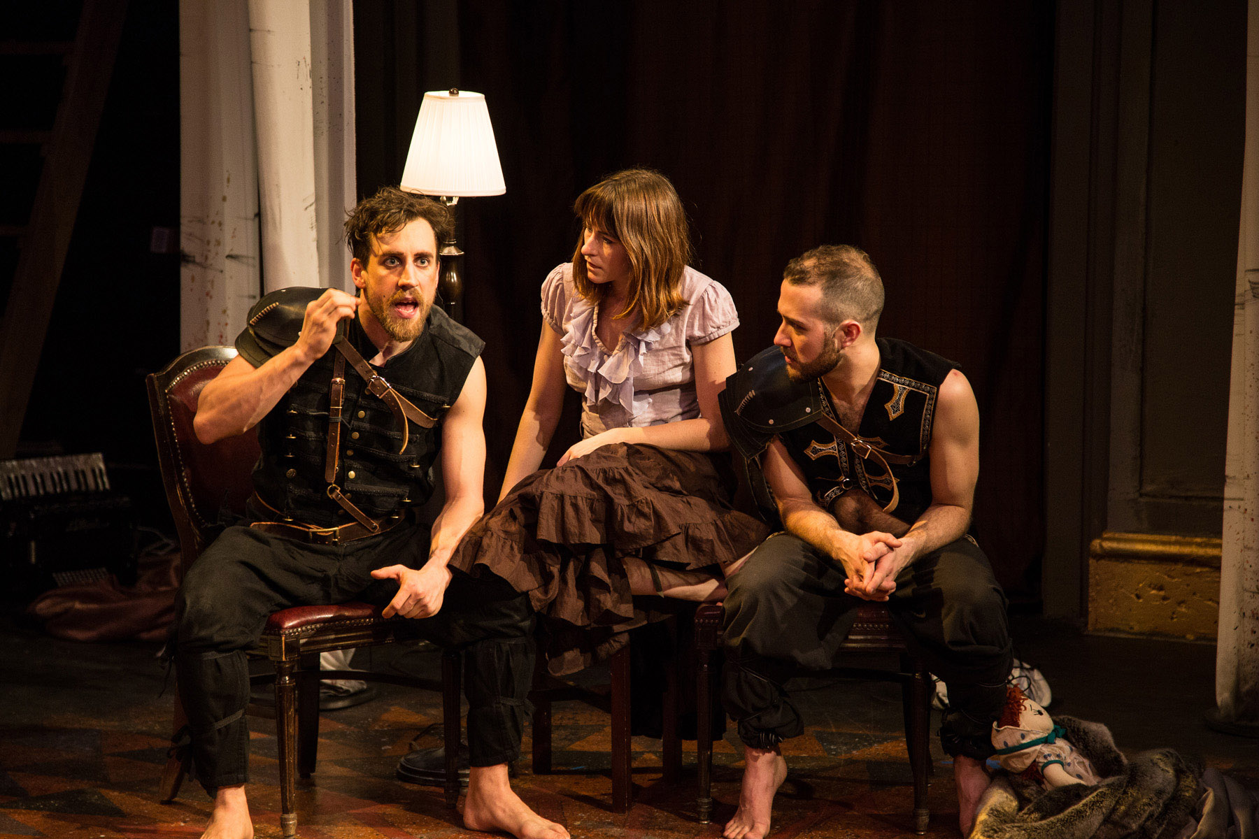 (left to right) Nigel Brown , McCambridge Dowd-Whipple and  Cooper Forsman  in  Red Tape Theatre and  Walkabout Theater Company's world premiere co-production of  MOTHER OF SMOKE . Photo by Austin D. Oie.