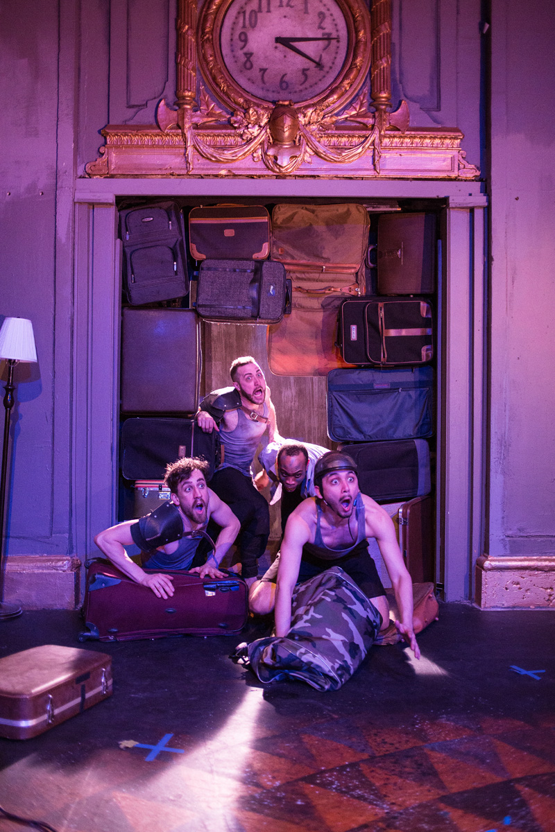 (left to right) Nigel Brown , Cooper Forsman , Johnard Washington and  Alex Rodriguez in  Red Tape Theatre and  Walkabout Theater Company's world premiere co-production of  MOTHER OF SMOKE . Photo by Austin D. Oie.