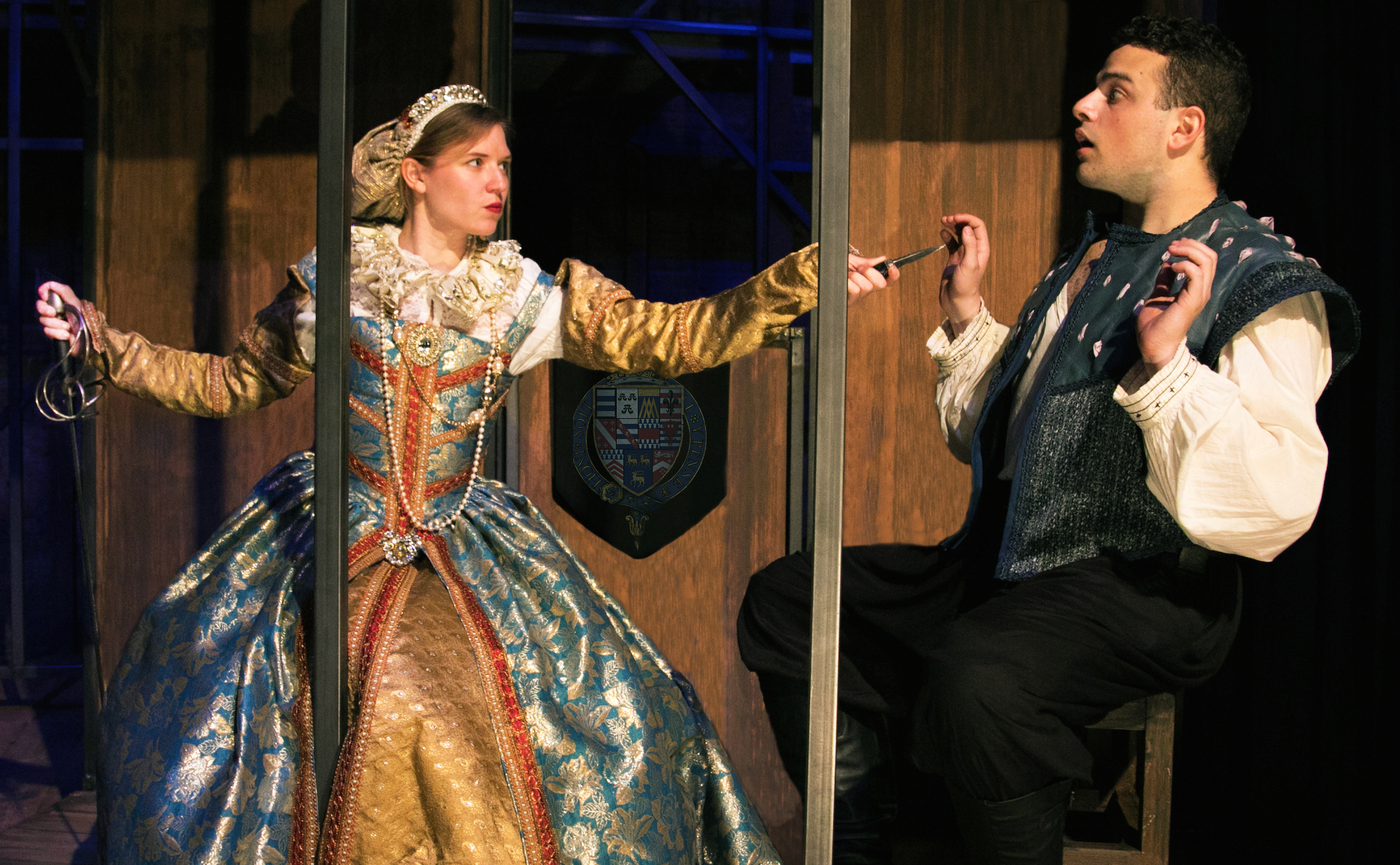 (L to R) Heather Chrisler as Lady Helena and Javier Ferreira as William Shakespeare. Photo by Cole Simon.