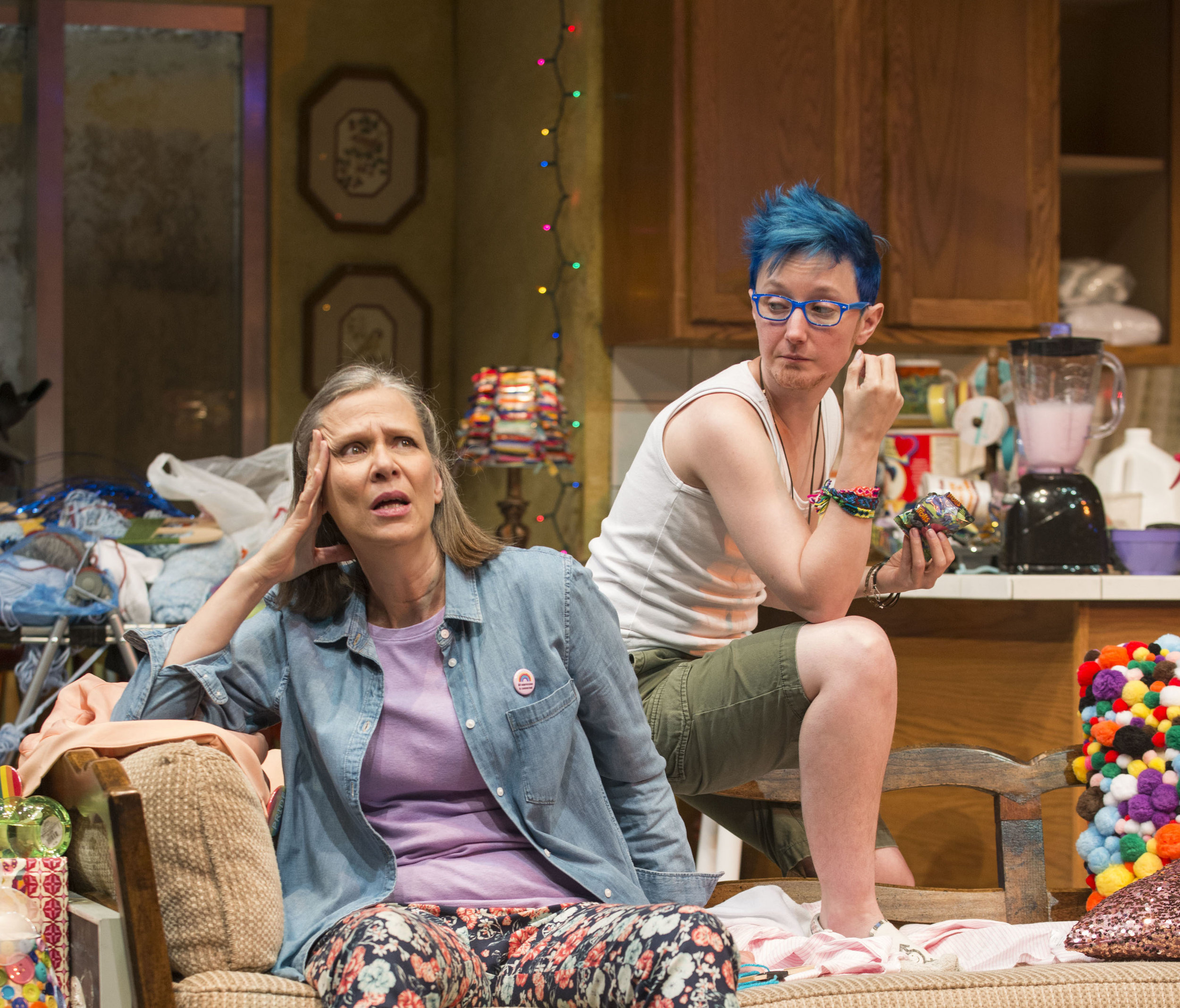 Pictured (left to right) Ensemble member Amy Morton (Paige) and Em Grosland (Max) in Steppenwolf's Chicago premiere production of Hir, written by Taylor Mac and directed by Hallie Gordon.Photo by Michael Brosilow.