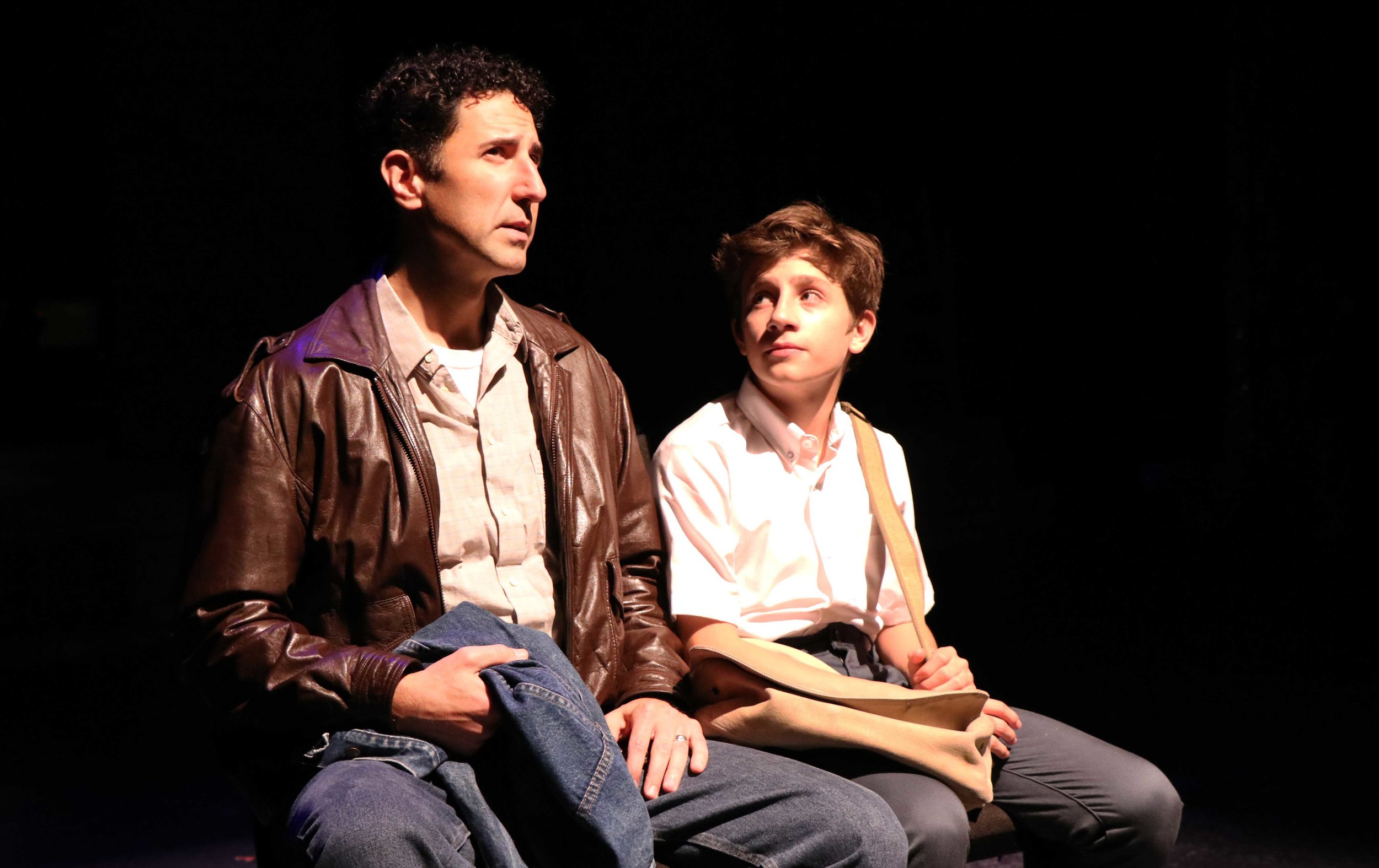 """Sean Fortunato as """"Dad"""" and Lincoln Seymour as """"Billy Elliot"""" in Porchlight Music Theatre's """"Billy Elliot the Musical."""" Photo by Austin Packard"""