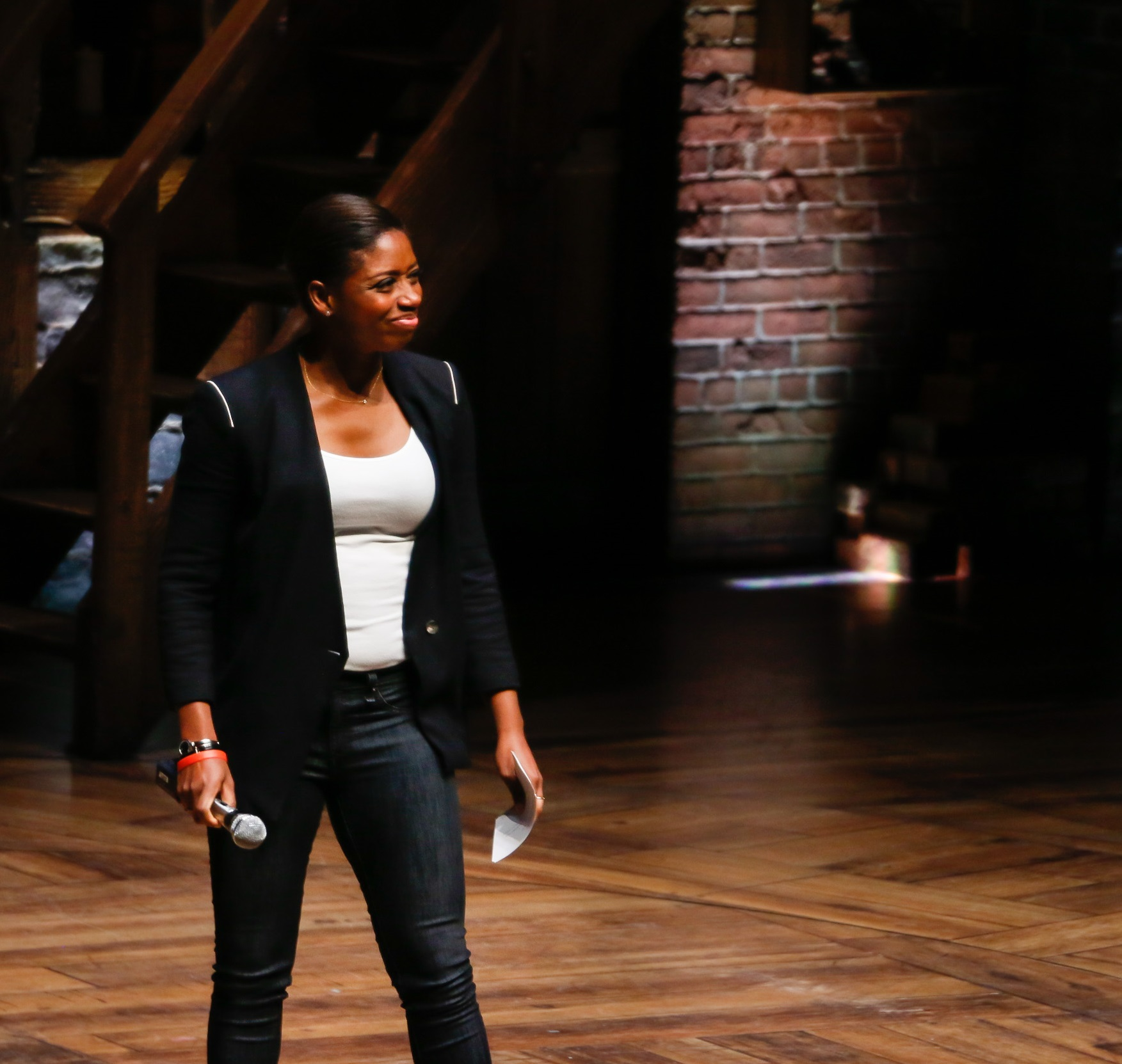 Montego Glover (plays Angelica Schuyler) emcees student performances during The Hamilton Education Program at CIBC Theatre. Photo by Mary Crylen.