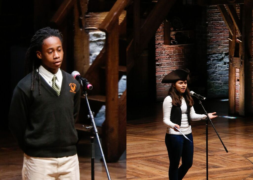 Samuel Nelson from North Lawndale College Prep High School - Christiana Campus (left) and Sara Concepcion from Prosser Career Academy (right) each perform at The CIBC Theatre. Photo by Mary Crylen.