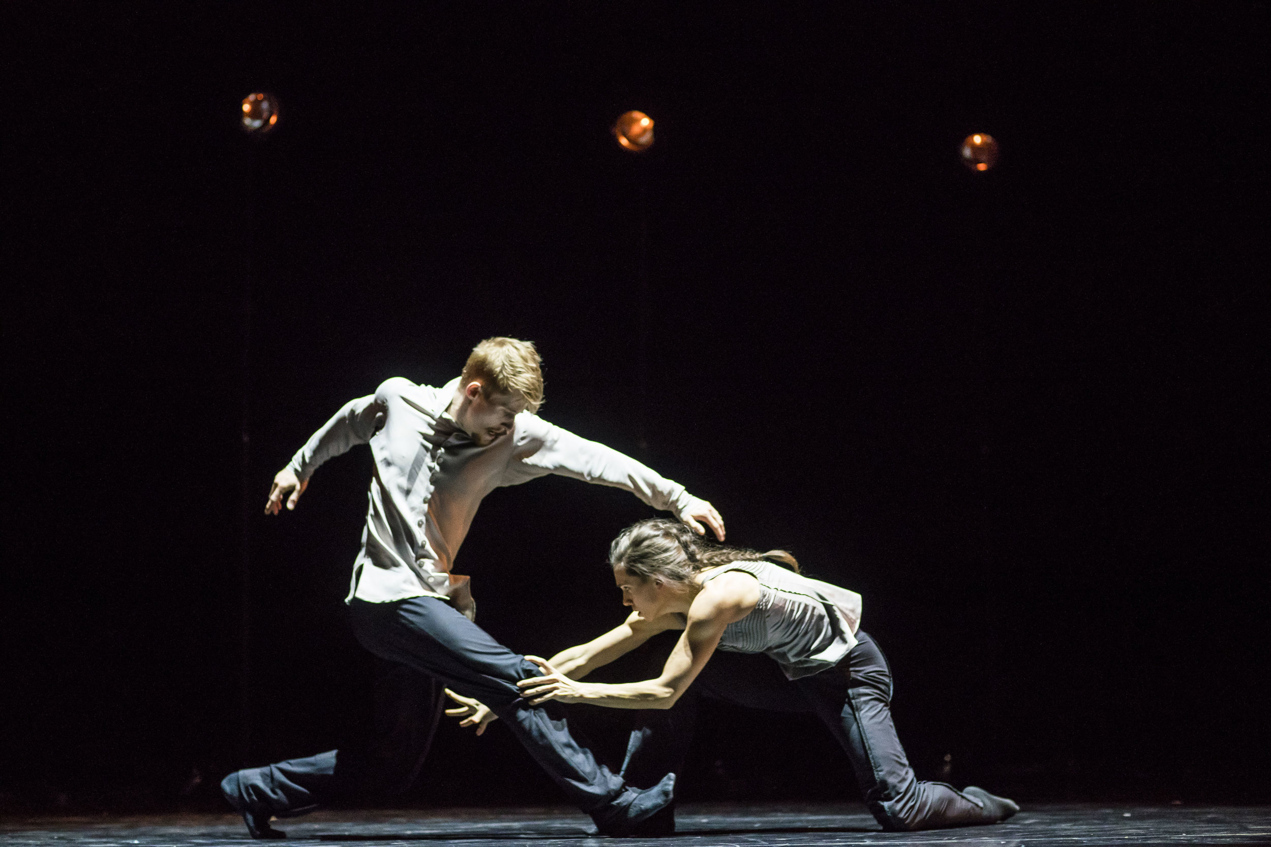 Hubbard Street Dancers Jacqueline Burnett and Elliot Hammans in Crystal Pite's  A Picture of You Falling . Photo by Todd Rosenberg.