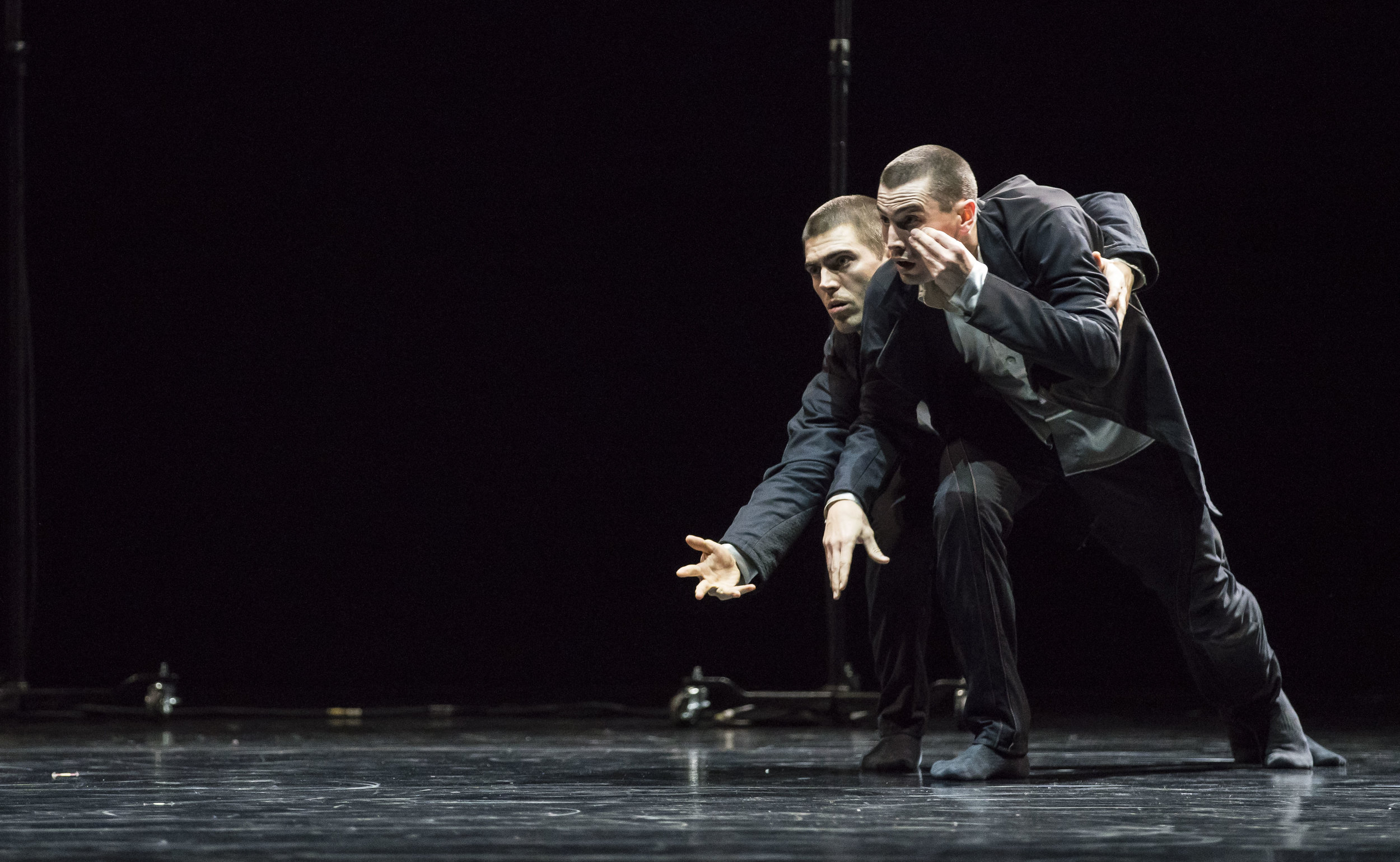 Hubbard Street Dancers Michael Gross and Andrew Murdock in Crystal Pite's  The Other You.  Photo by Todd Rosenberg.