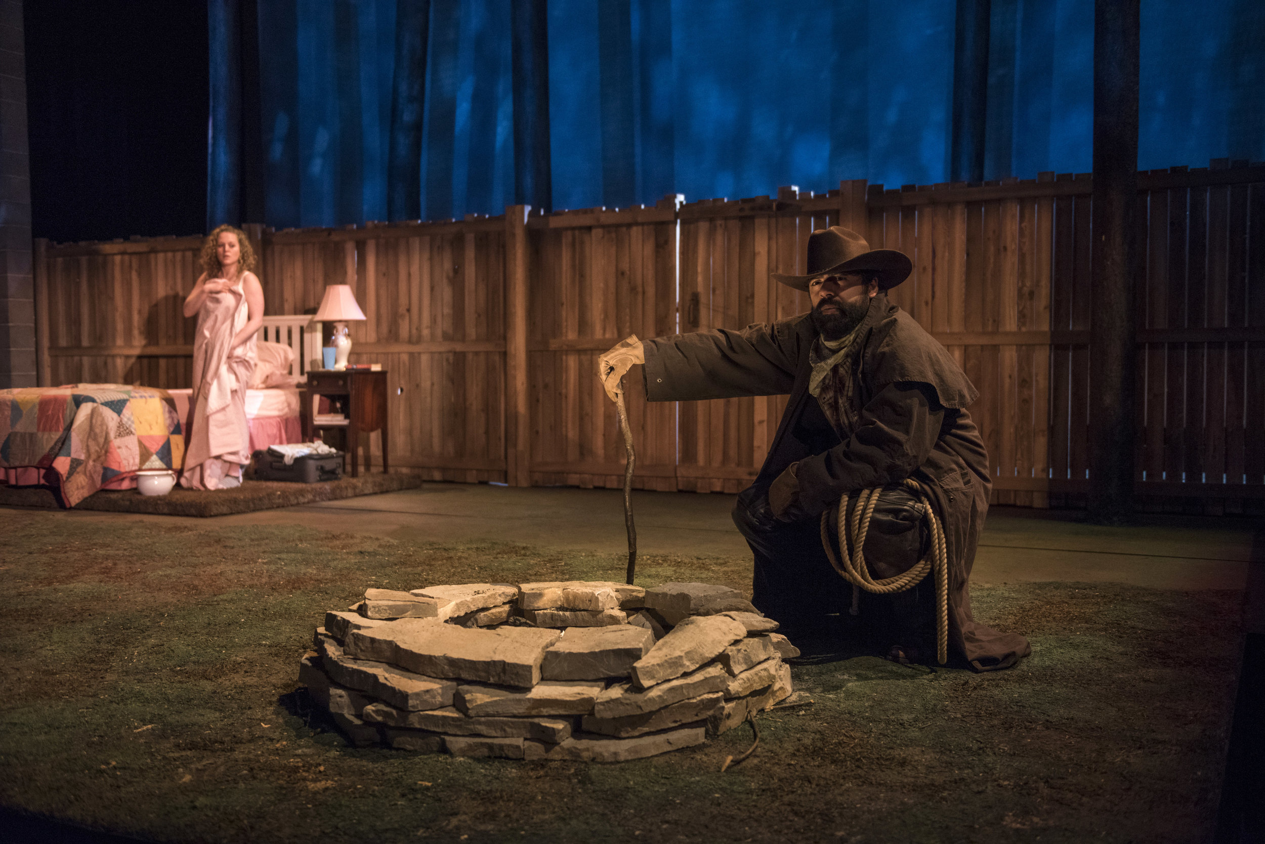 Pictured (L to R) :Ensemble member Caroline Neff (Mae) and Gabriel Ruiz (Cowboy) in Steppenwolf's Chicago premiere production of You Got Older by Clare Barron, directed by Jonathan Berry.