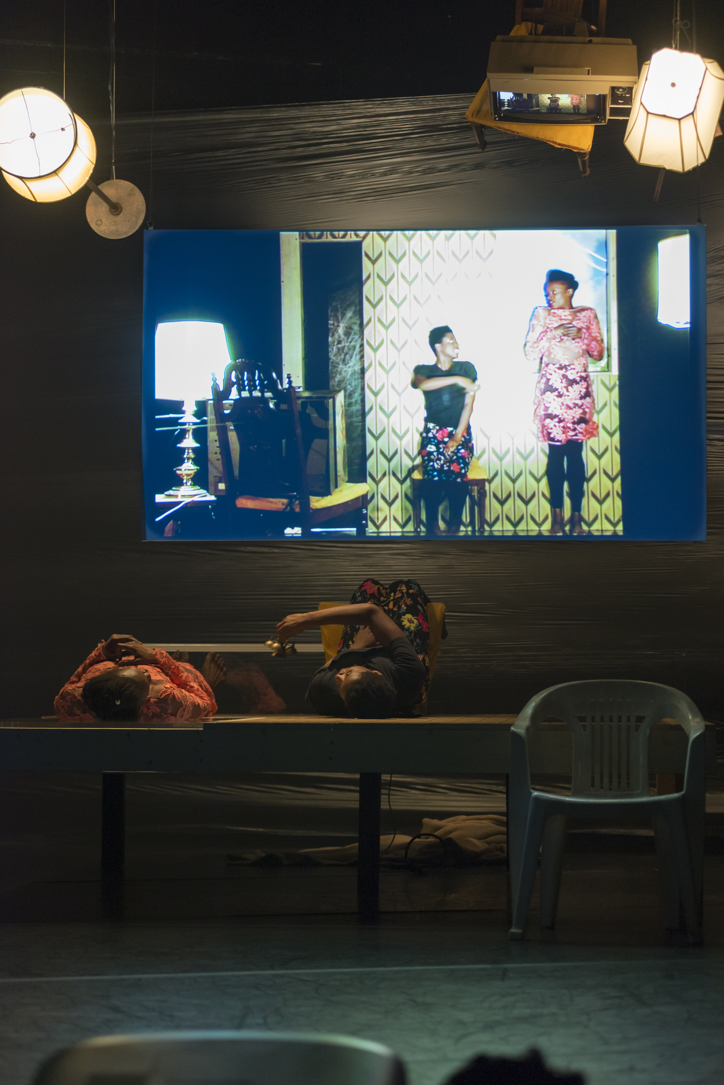 Performance view, Okwui Okpokwasili: Poor People's TV Room, MCA Chicago April 12 – 15, 2018 Photo: Nathan Keay, ©MCA Chicago.