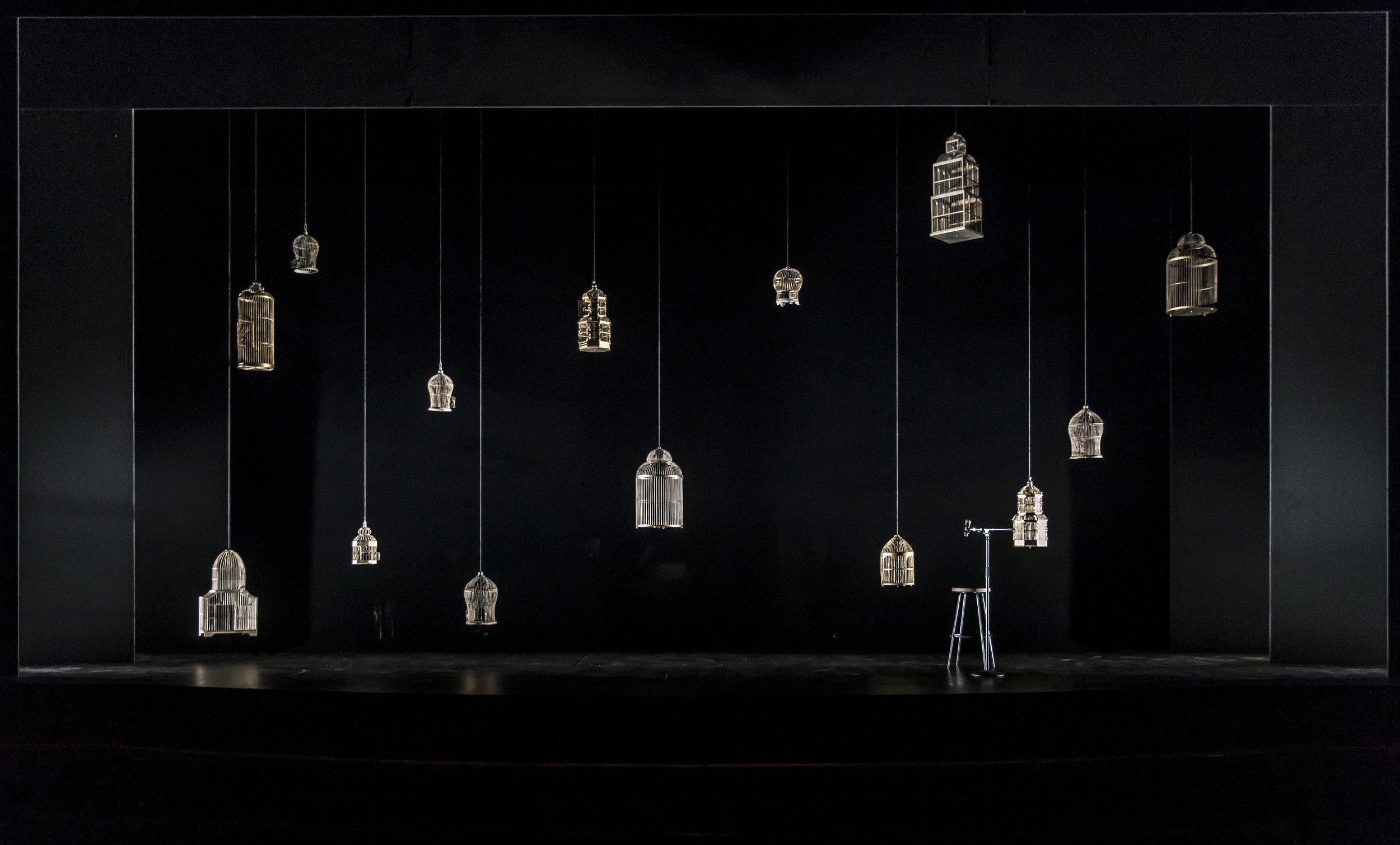 The production set designed by Kevin Depinet for the world premiere of David Cale's solo musical memoir We're Only Alive for A Short Amount of Time.