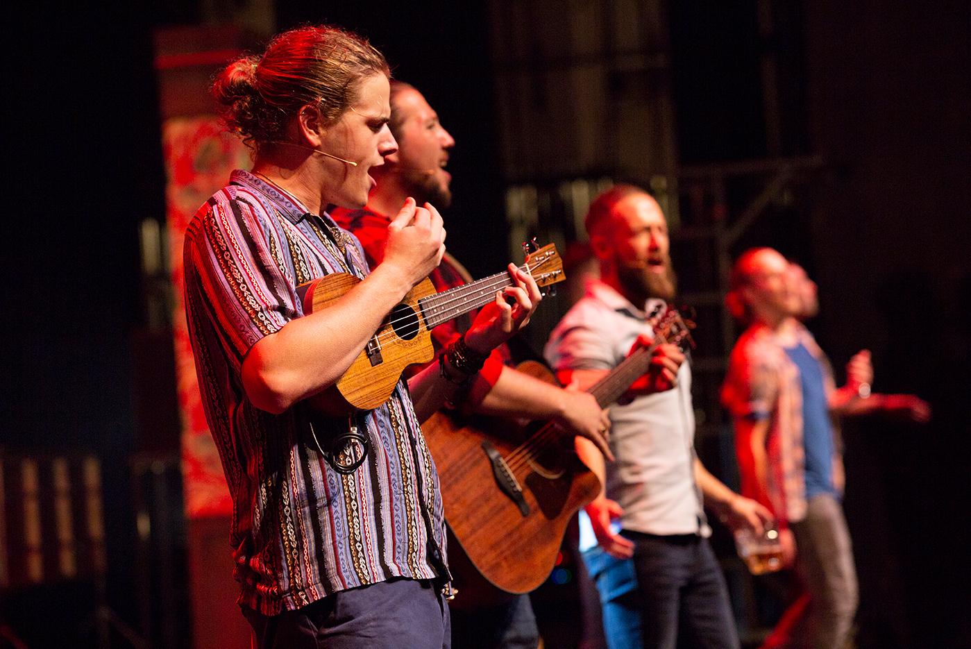 Aidan Banyard, Peter Lawrence, Tom Brandon in The Choir of Man. Photos by Brian Wright.