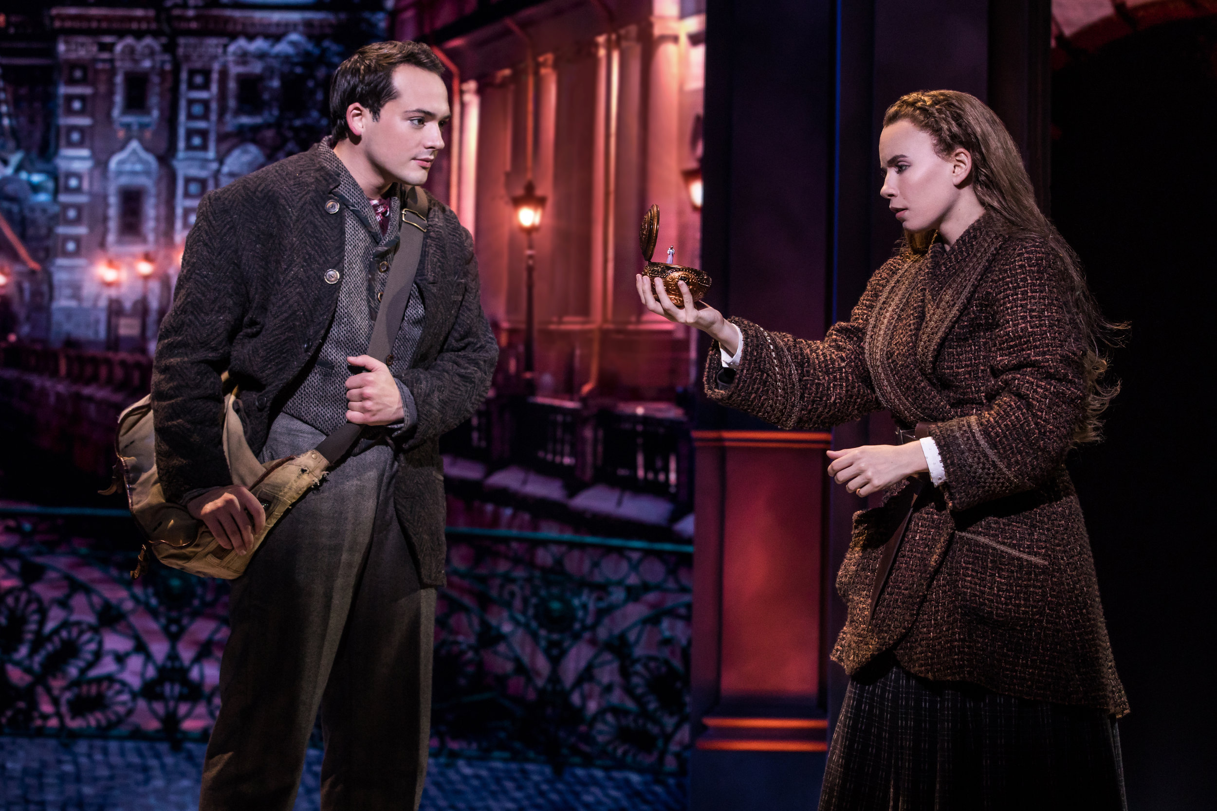 Lila Coogan (Anya) and Stephen Brower (Dmitry) in the National Tour of ANASTASIA. Photo by Matthew Murphy, MurphyMade.