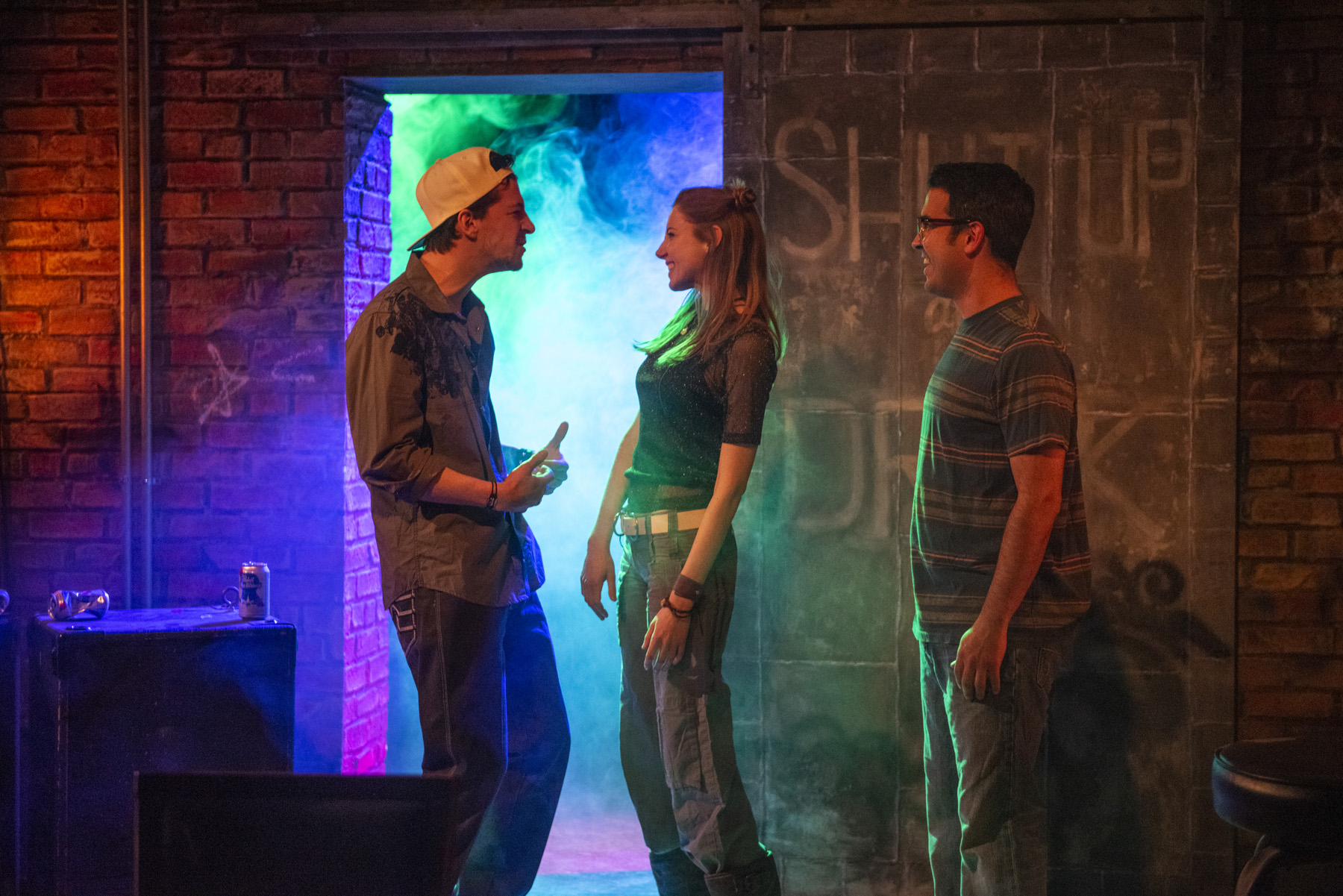 Henry Greenberg , Lindsay Stock  and Christopher Acevedo  in Raven Theatre's  Chicago premiere of THE UNDENIABLE SOUND OF RIGHT NOW . Photo by Michael Brosilow.