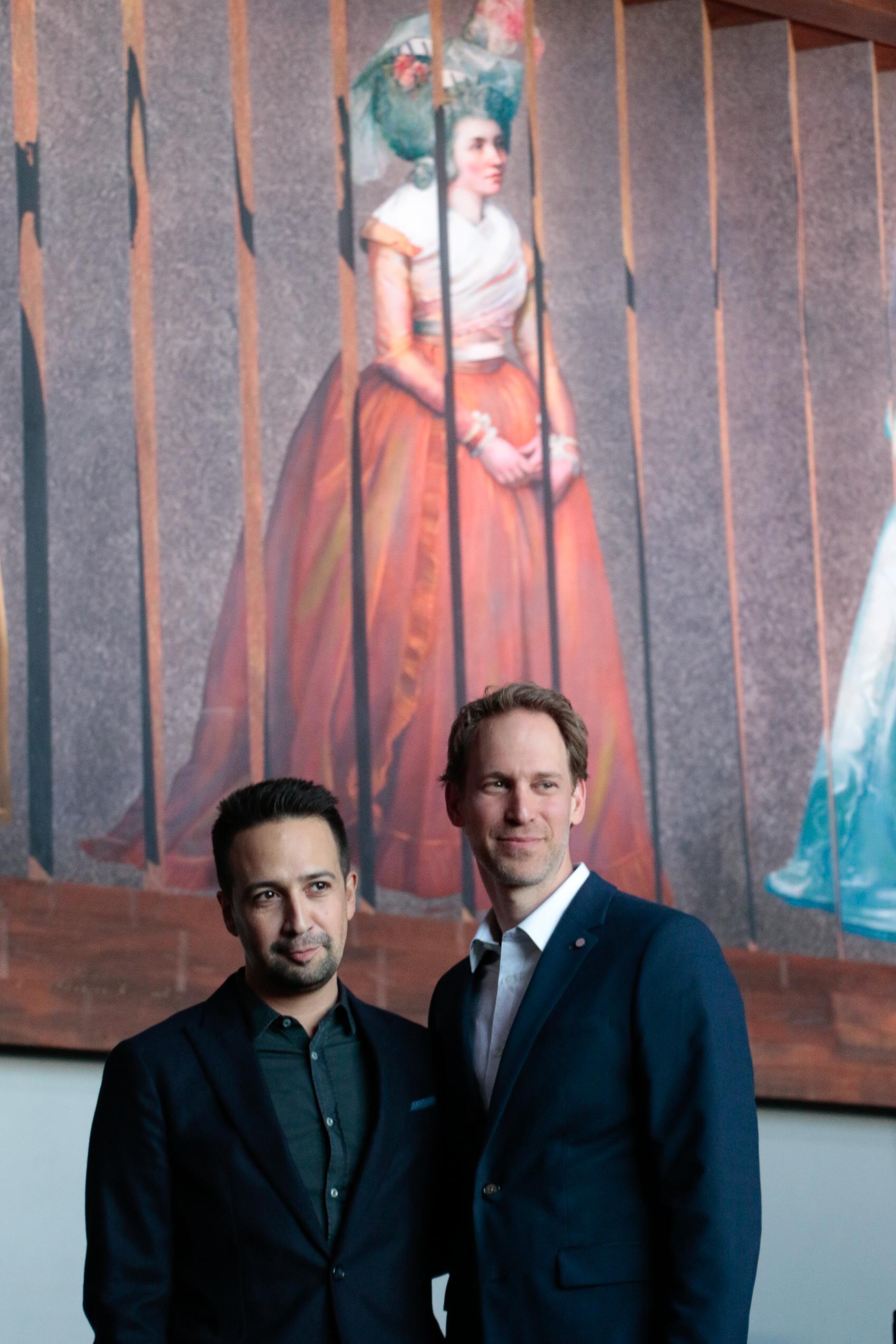 Lin Manuel Miranda and David Korins at the Hamilton Exhibition Press Conference, April 26th, 2019. Photo by Mary Crylen.