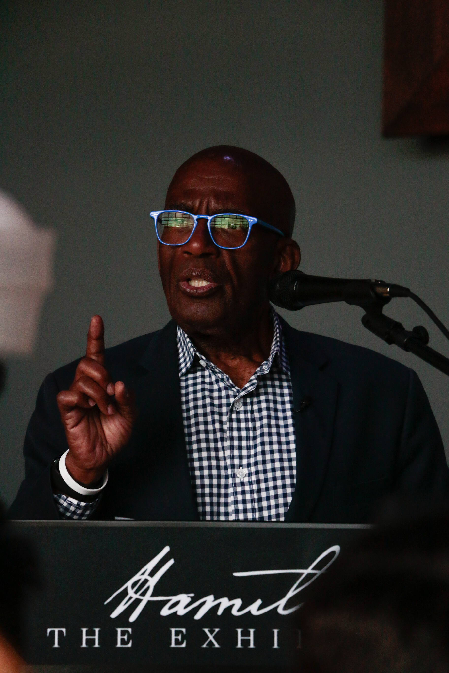 NBC Today's Al Roker at at the Hamilton Exhibition Press Conference and Ribbon Cutting, April 26th, 2019. Photo by Mary Crylen.