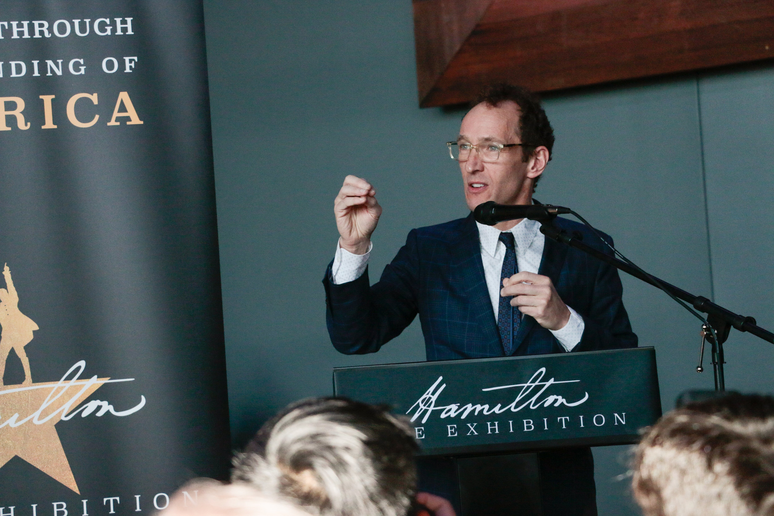Producer Jeffrey Seller at the Hamilton Exhibition Press Conference and Ribbon Cutting, April 26th, 2019. Photo by Mary Crylen.
