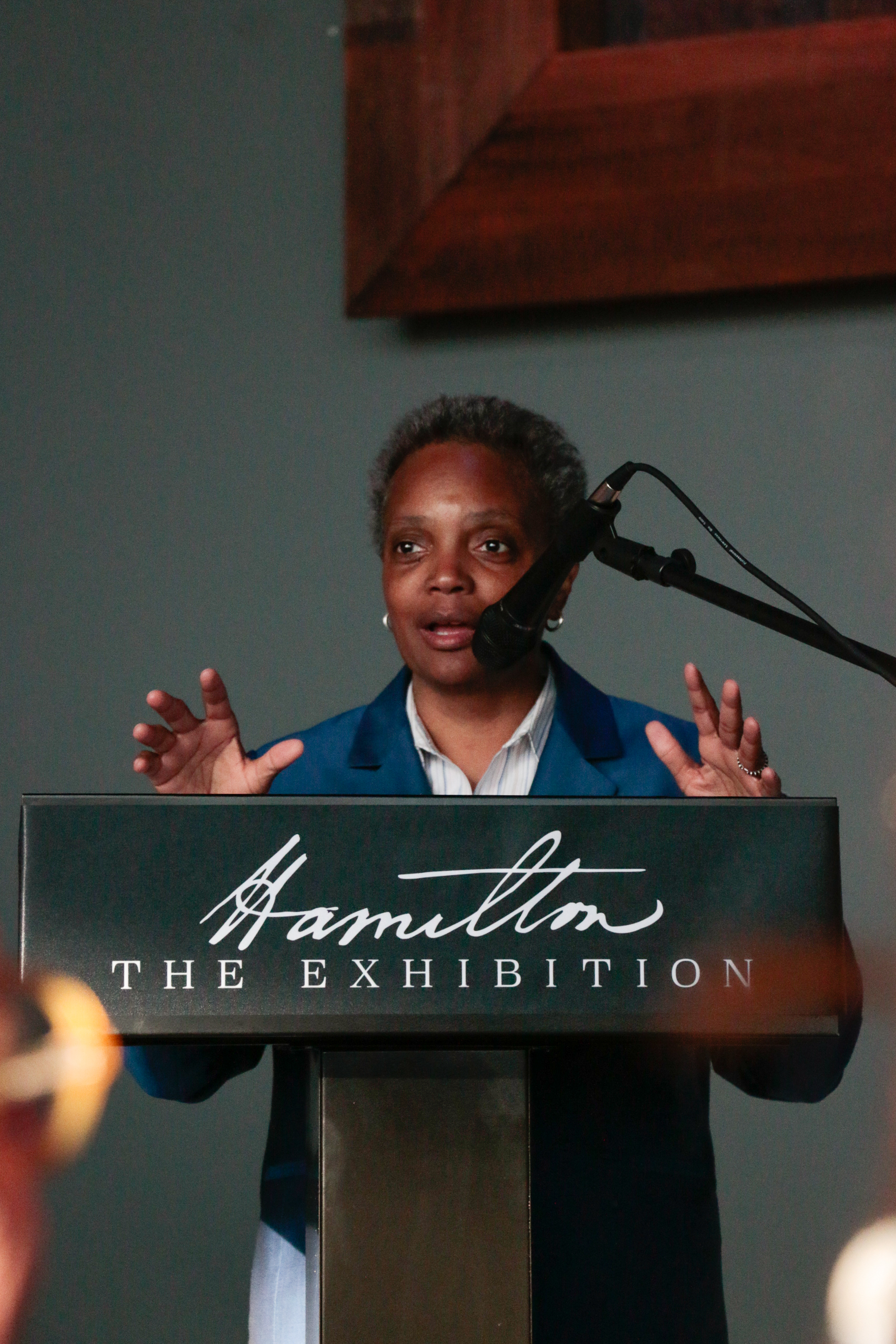 Mayoral Elect Lori Lightfoot at the Hamilton Exhibition Ribbon Cutting, April 26th, 2019. Photo by Mary Crylen.