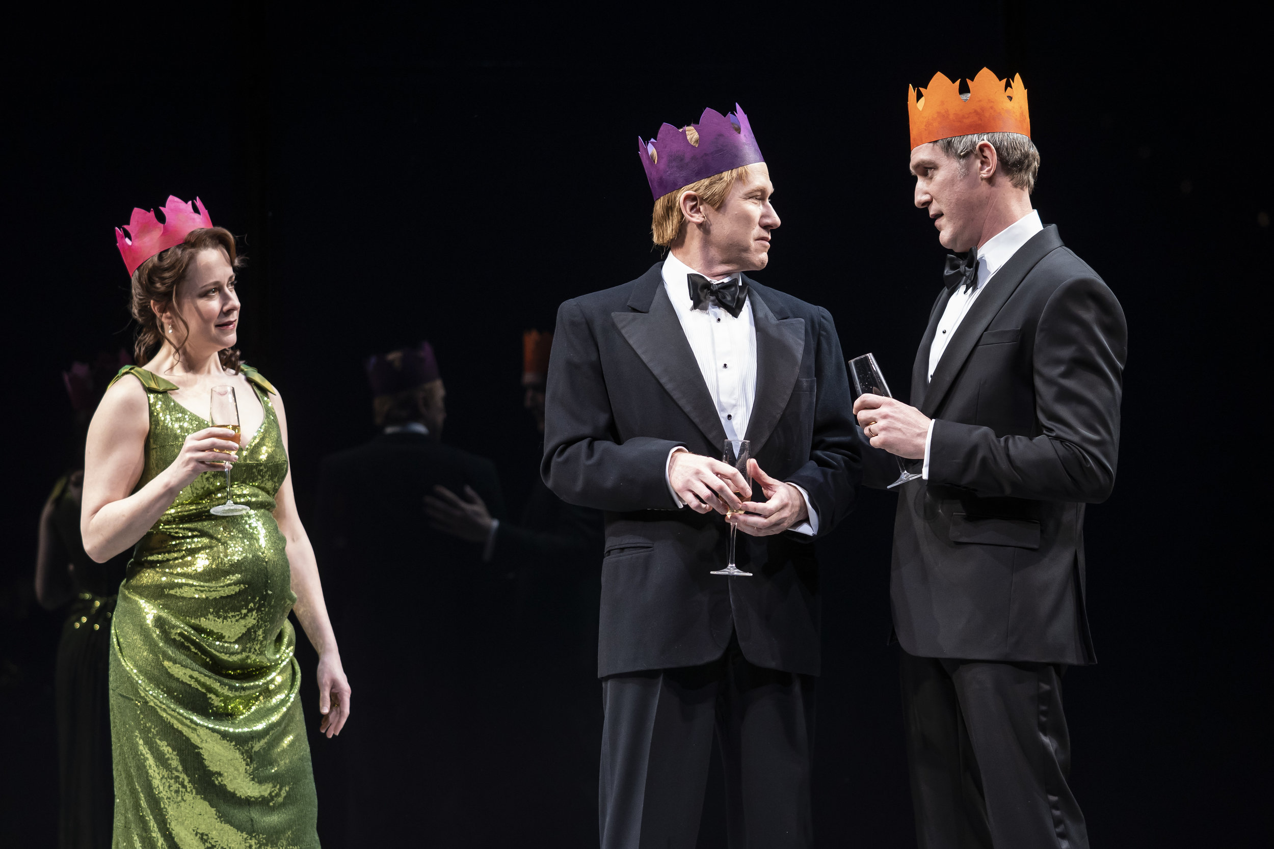 Kate Fry  (Hermione),  Dan Donohue  (Leontes) and  Nathan Hosner  (Polixenes) in  The Winter's Tale  by William Shakespeare, directed by Robert Falls (May 4 – June 9, 2019).