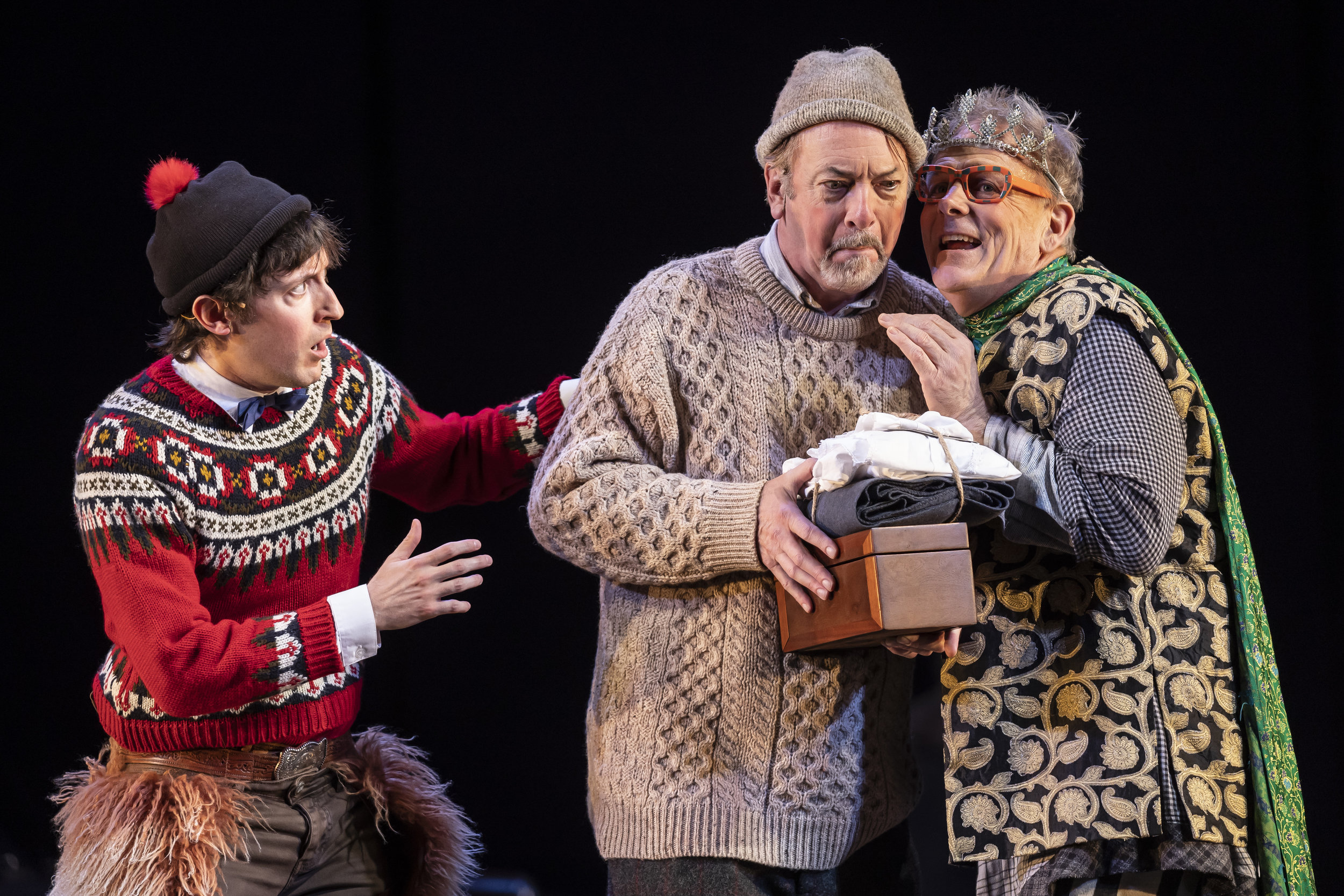 Will Allan  (Clown),  Tim Monsion  (Old Shepherd) and  Philip Earl Johnson  (Autolycus) in  The Winter's Tale  by William Shakespeare, directed by Robert Falls.
