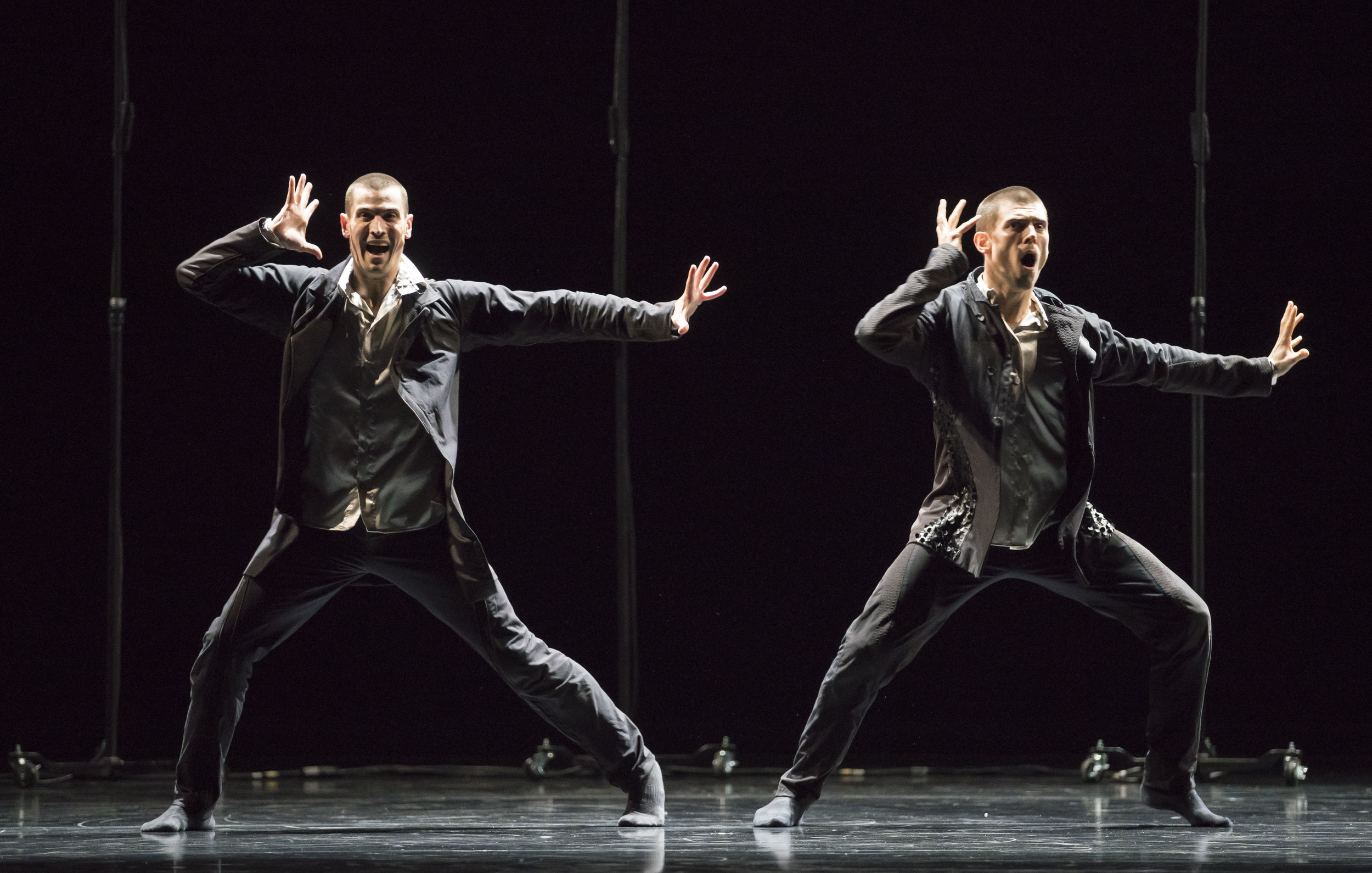 Hubbard Street Dancers Michael Gross and Andrew Murdock in The Other You by Crystal Pite. Photo by Todd Rosenberg