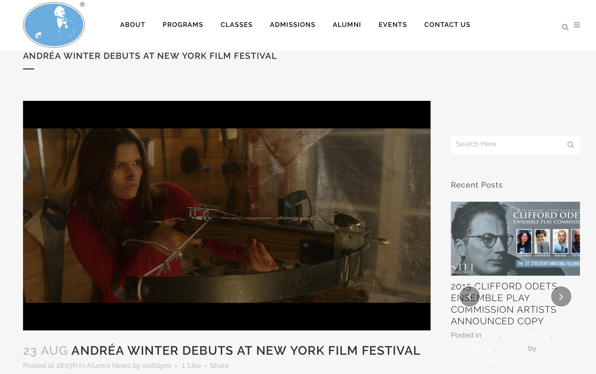 LEE STRASBERG - ANDRÉA WINTER DEBUTS AT NEW YORK FILM FESTIVAL