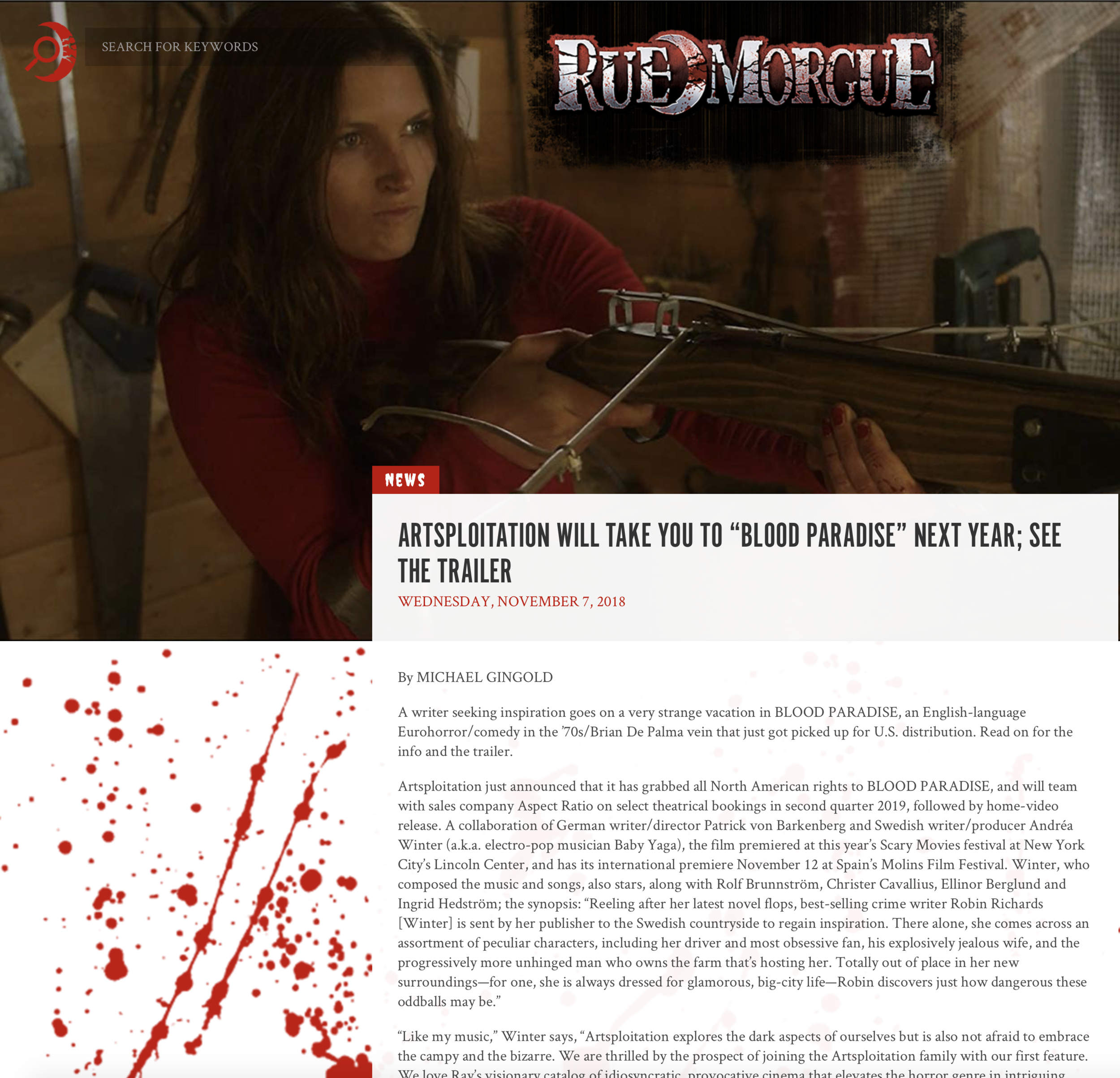 RUE MORGUE - Artsploitation just announced that it has grabbed all North American rights to BLOOD PARADISE, and will team with sales company Aspect Ratio on select theatrical bookings in second quarter 2019, followed by home-video release.