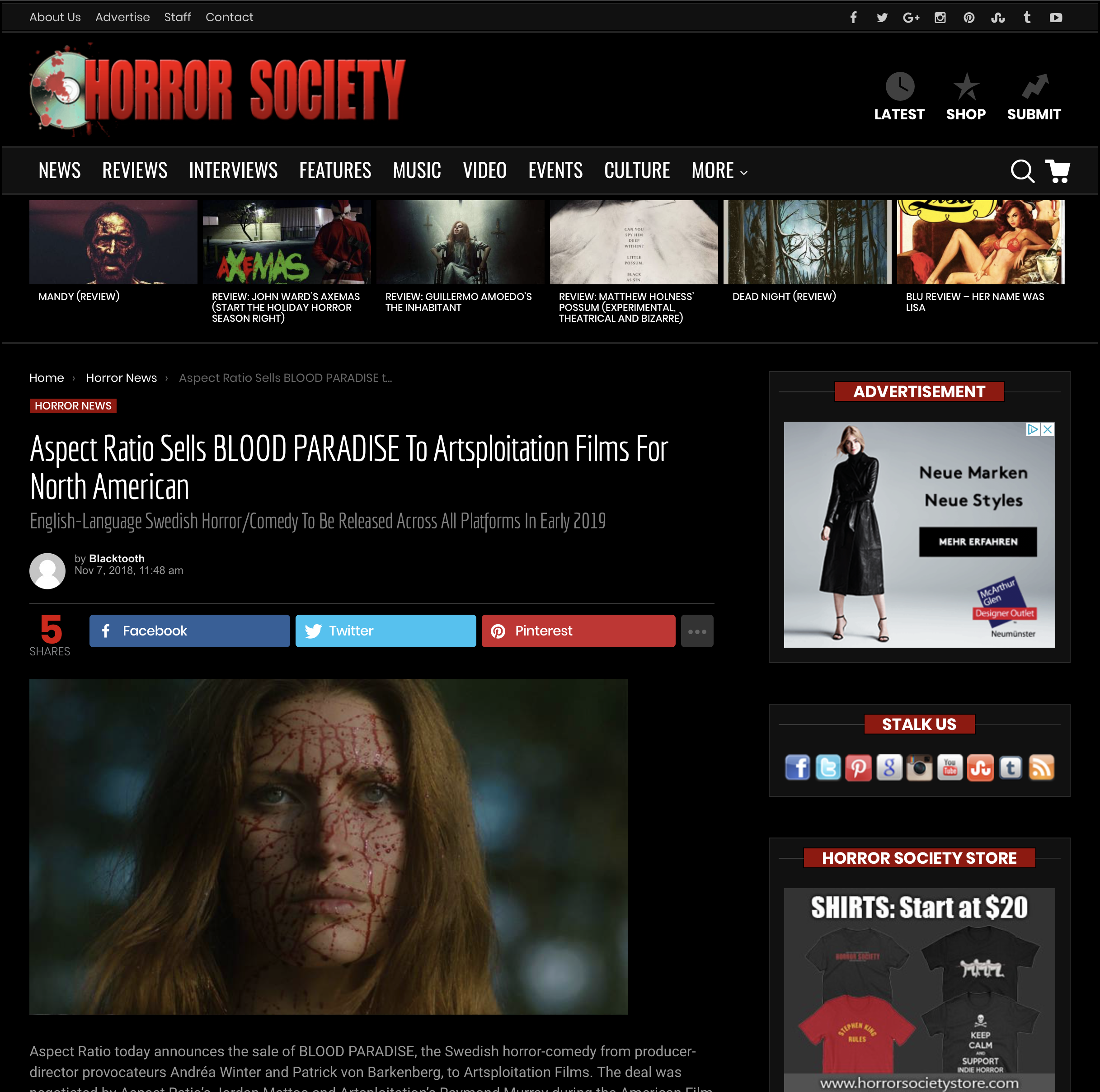 HORROR SOCIETY - Aspect Ratio today announces the sale of BLOOD PARADISE, the Swedish horror-comedy from producer-director provocateurs Andréa Winter and Patrick von Barkenberg, to Artsploitation Films. The deal was negotiated by Aspect Ratio's Jordan Mattos and Artsploitation's Raymond Murray during the American Film Market.