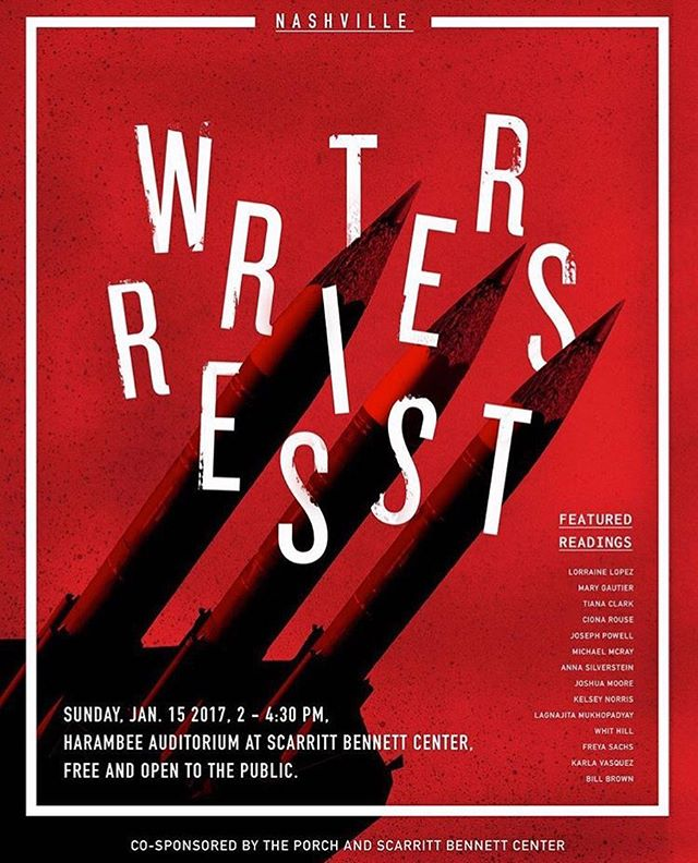 "Today I will join fourteen other writers here in Nashville, and scores of writers around the world for ""Writers Resist: Voices for Social Justice"". I'm excited to be a part of the global movement @WriteOurDemocracy, sponsored by @porchtn and @scarrittbennett.  Join us at Harambee Auditorium at Scarritt Bennett Center today from 2-4:30. Free and open to the public! I will be reading the poem ""Brief for the Defense"". It's the only anthem I will sing."