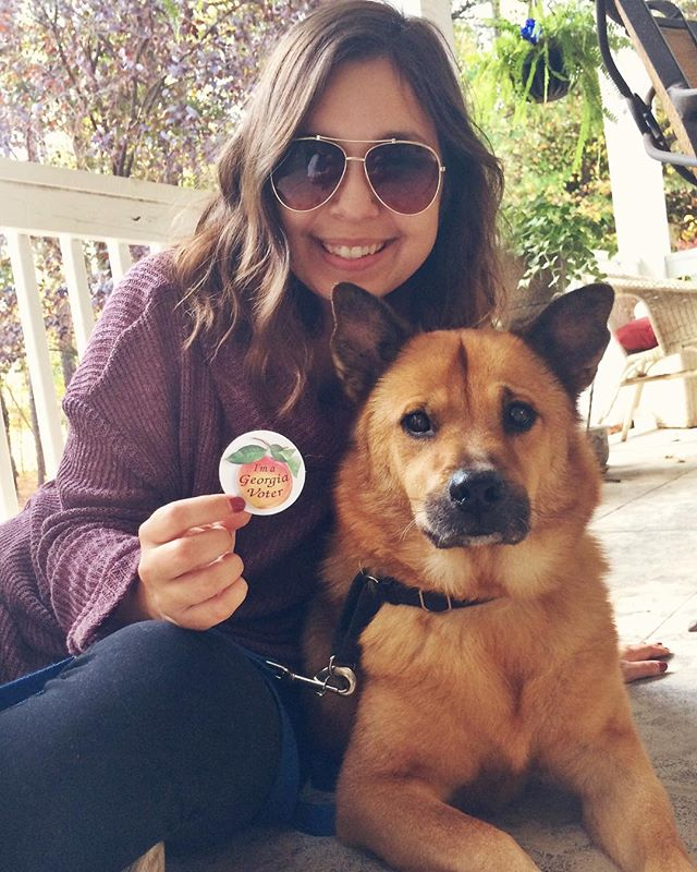 Today is the day! We both exercised our right to vote: Amanda in person and Mal via absentee ballot (shoutout to @whenskiesare_grey for the vote sticker). Have you voted yet? Share below and let us know! #vote #midtermelections