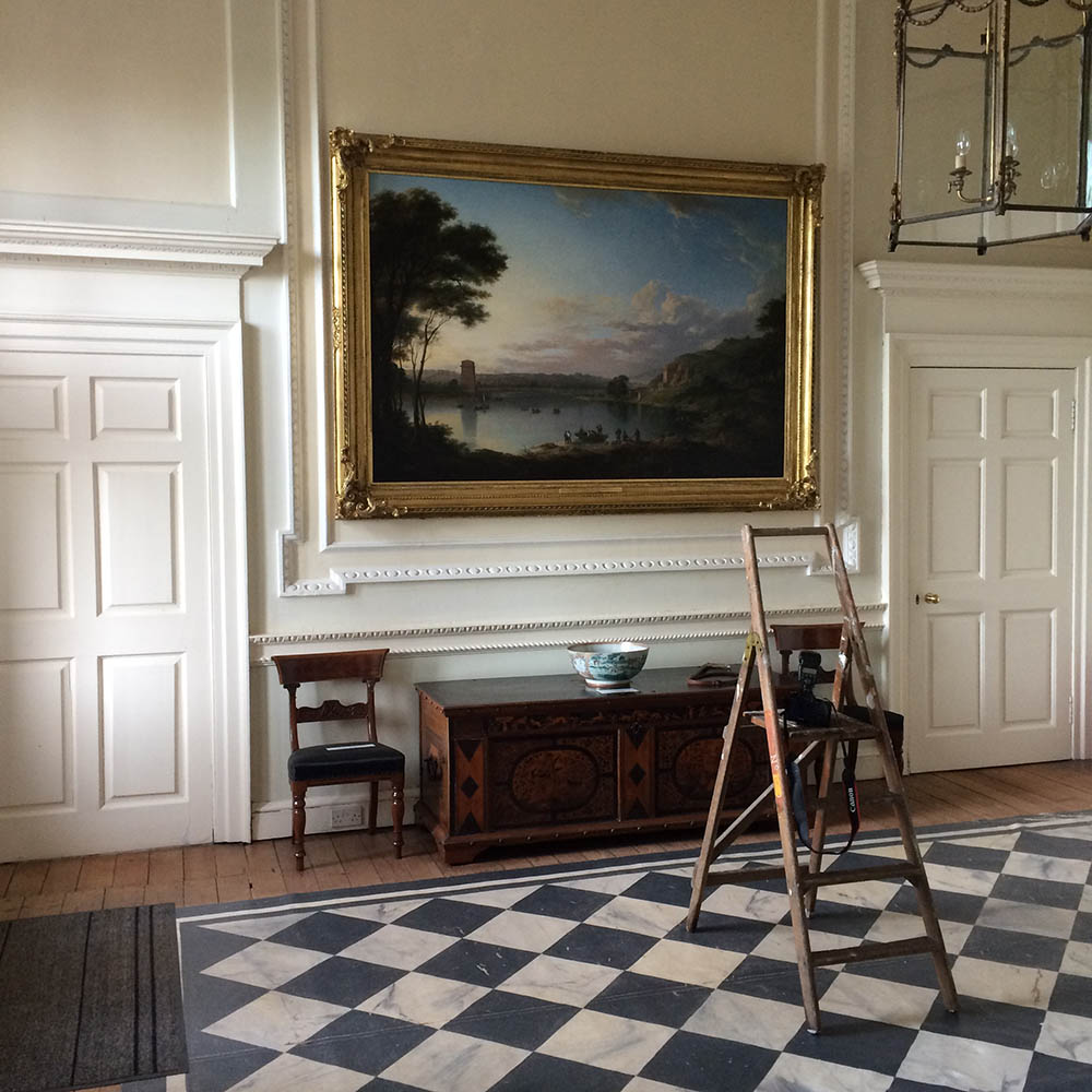 At work photographing a painting by Alexander Nasmyth on display at Paxton House in Berwickshire. The result can be seen in the carousel above.