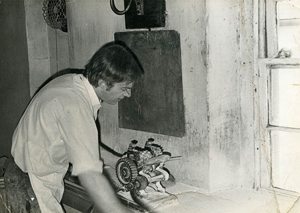 Terry Heapy at work, c1975.