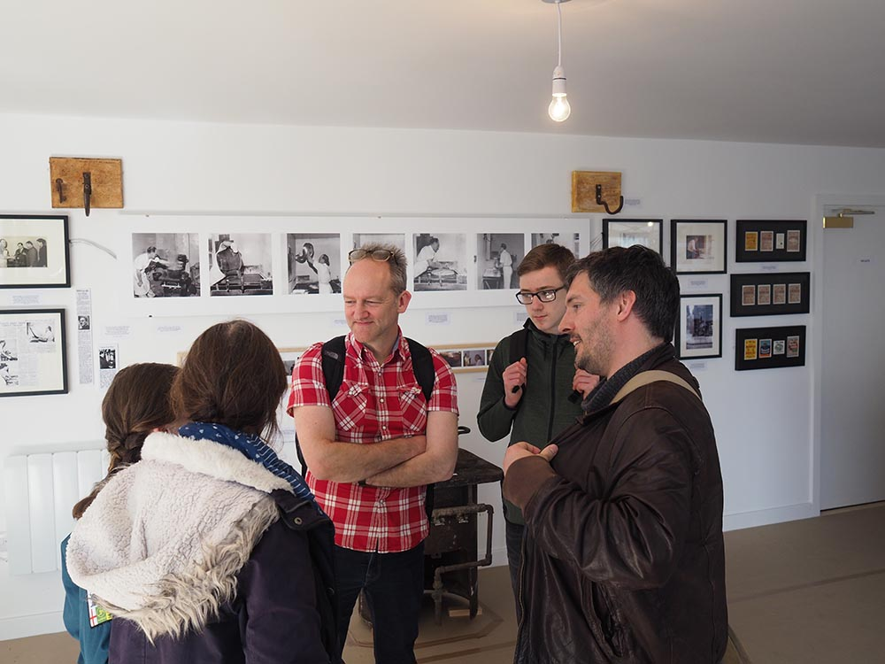 Ian Fenton and Jacob Polley talking with Linda Bankier, Berwick Archivist.