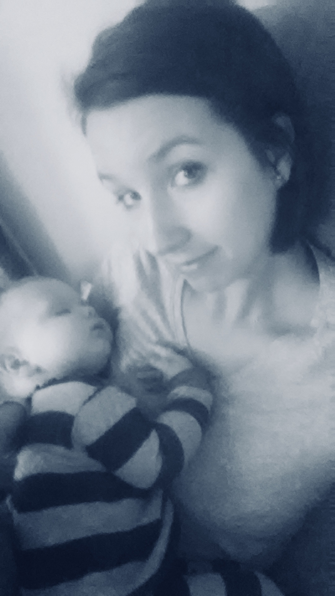 Amber with her first son.
