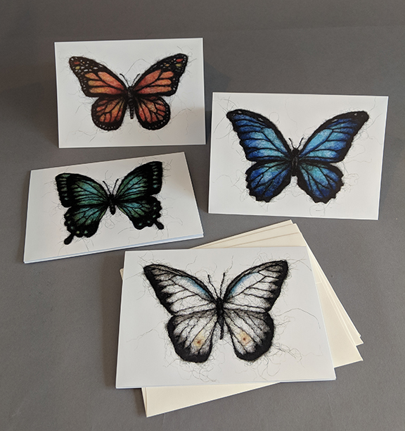 Set of 4 Butterfly Wool Drawing Cards ($50 Pledge)