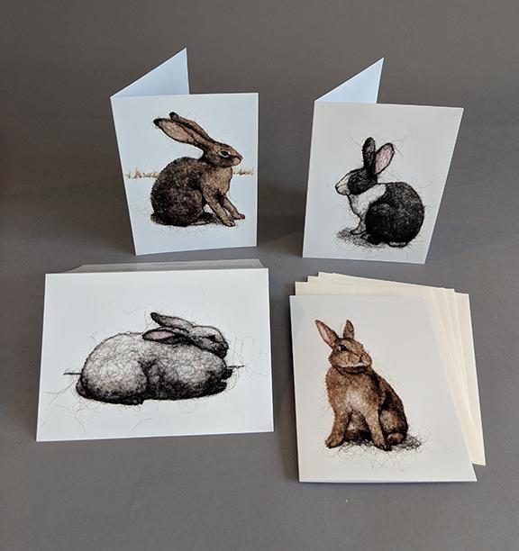 Set of 4 Rabbit Wool Drawing Cards ($50 pledge)