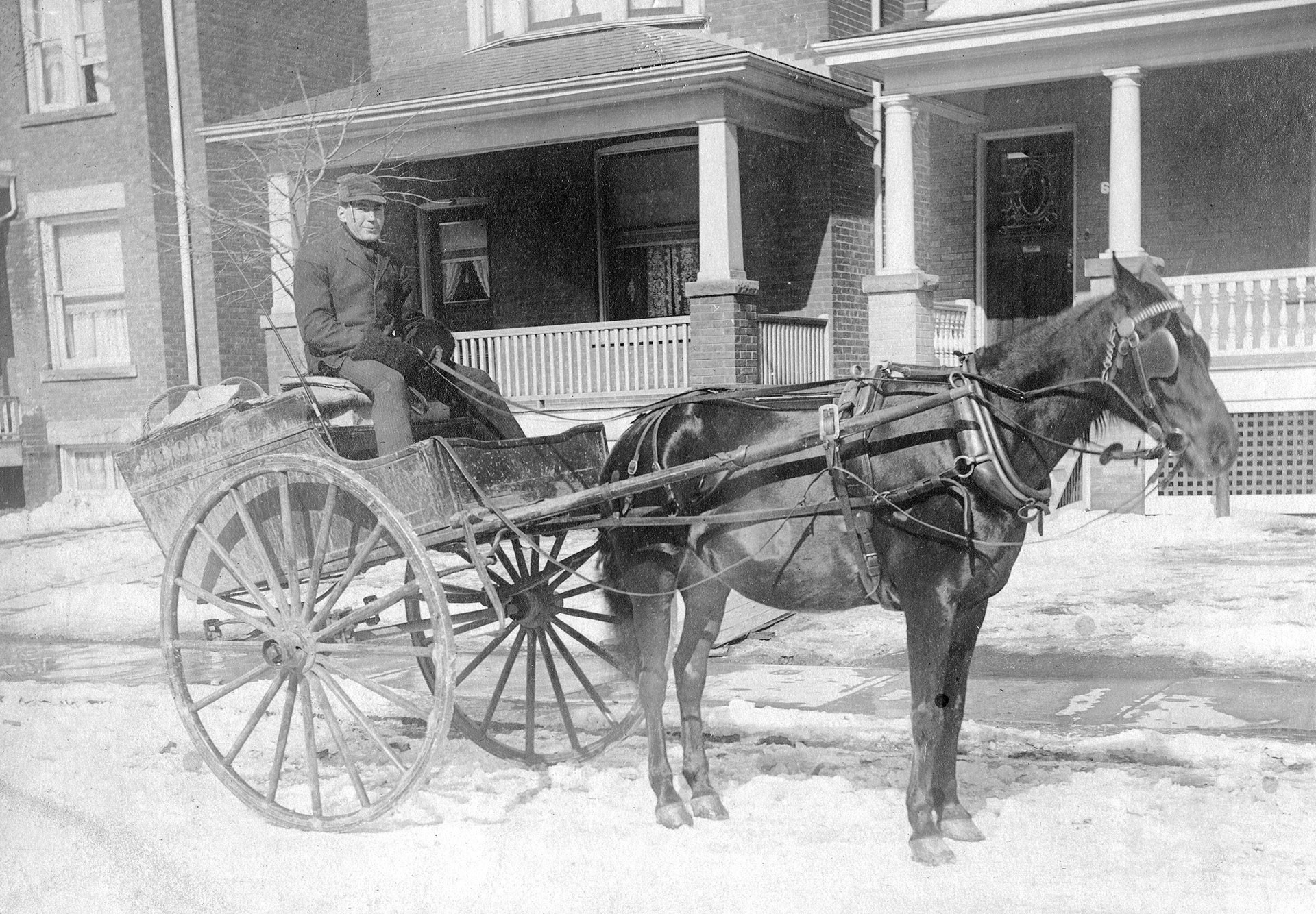 George Phillips, delivery boy for Dorst (butcher on Gerrard Street East & Howland Rd.) 1908