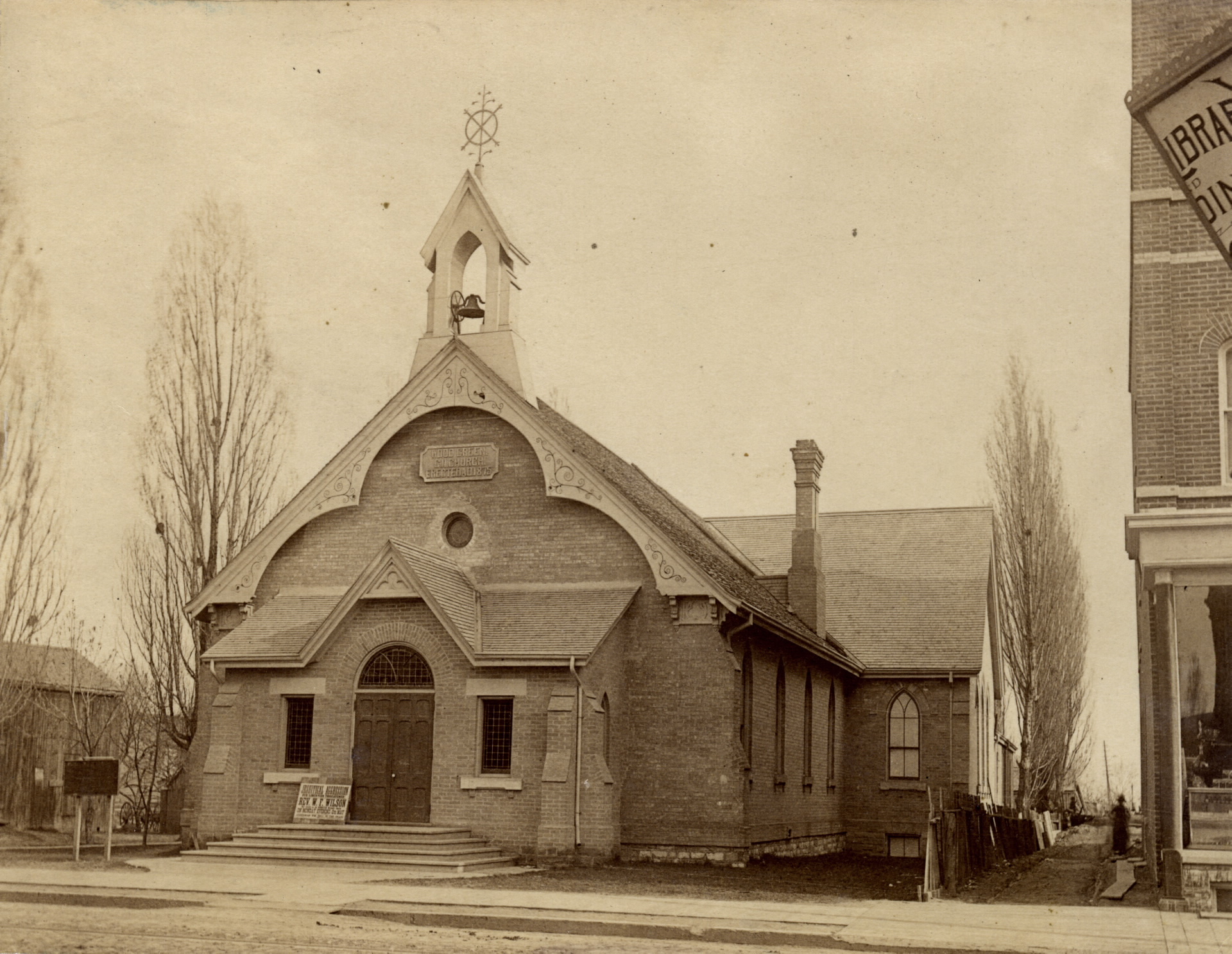 Woodgreen Methodist (United) Church, Queen St. E., s.w. corner Strange St., 1880's