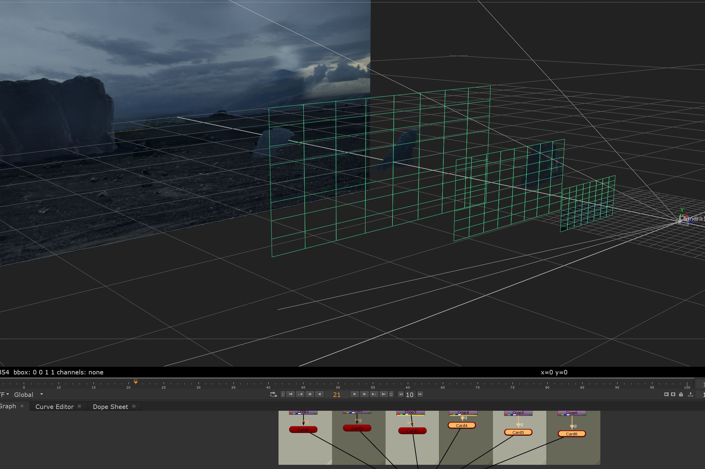 The 3D projection of the cards in Nuke.