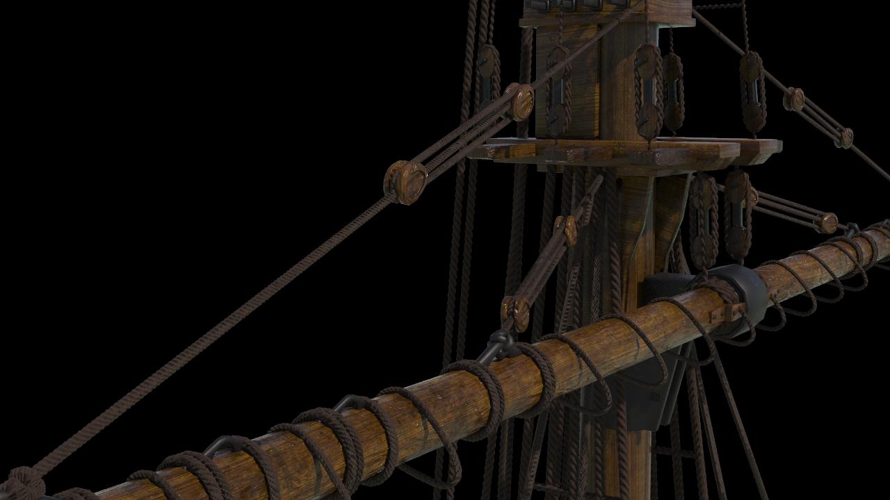 Houdini Model Tall Ship Mast Section