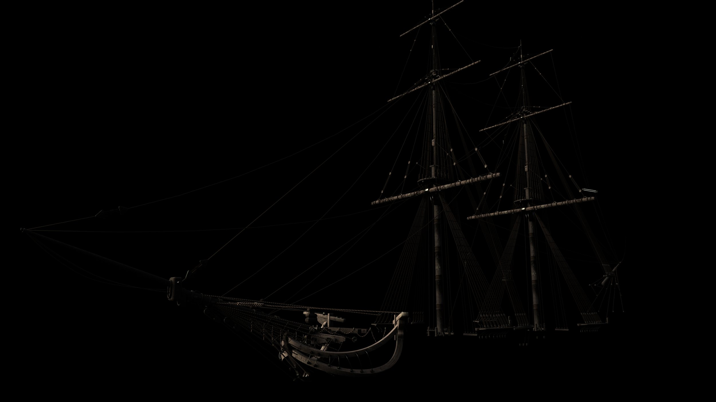 Houdini Model Tall Ship Masts and Rigging