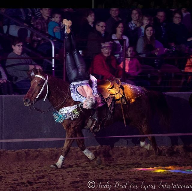 We had the great opportunity to be apart of the Winter Wonderland Christmas Show this past weekend in Shipshewana, In! All of the cast and crew members were fantastic and beyond talented! If you missed it this time you'll absolutely want to go to the next show up there! Shout out to #andynealphotography for the amazing pictures! #trickriders #sisterduo @ndjdesigns