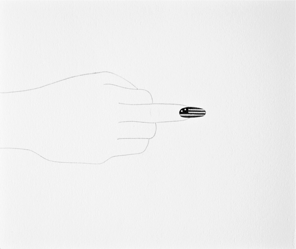 Untitled (Pair) (Hands with US and Cuban Flags)