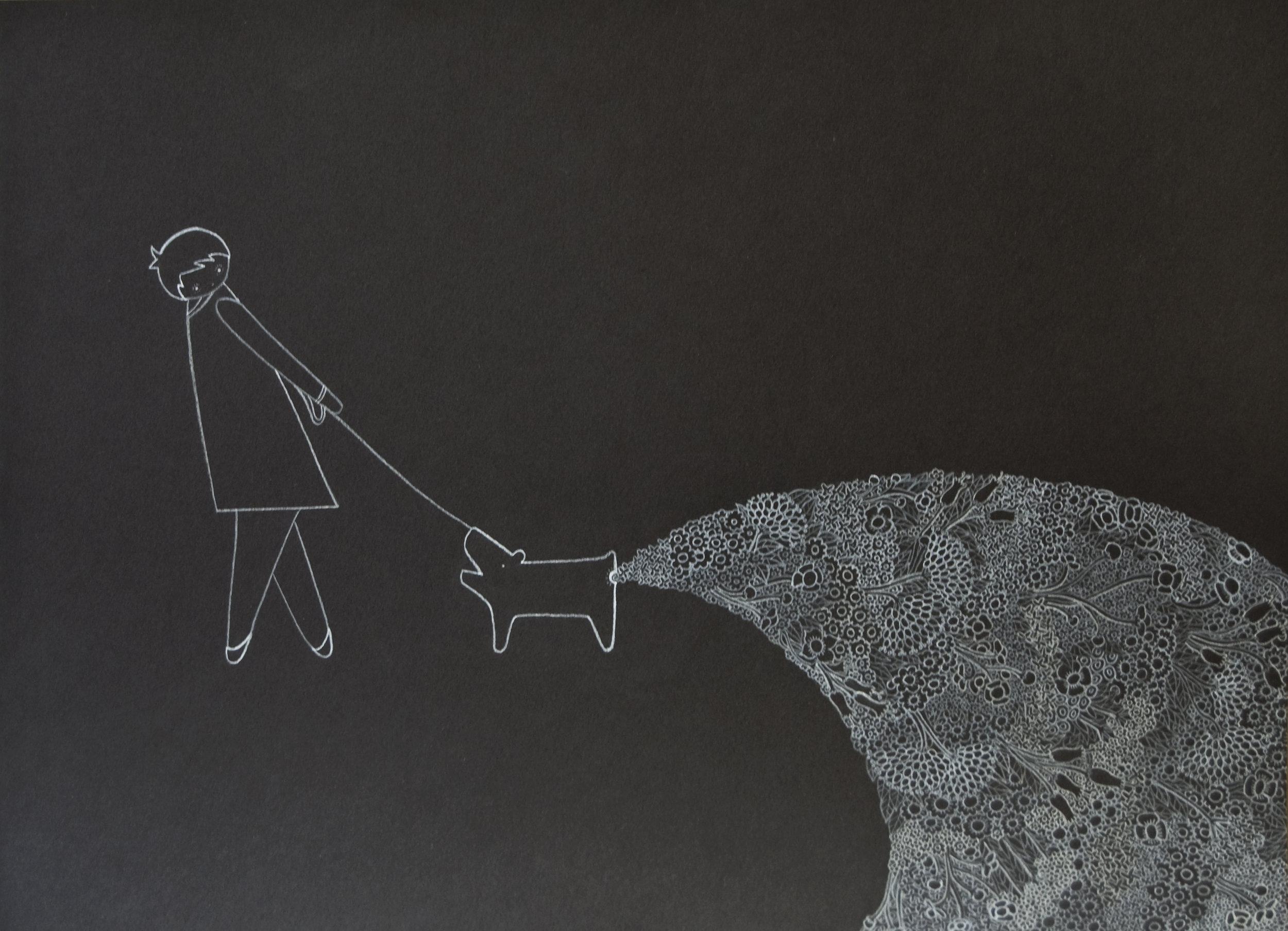 Untitled (Dog defecating Flowers)