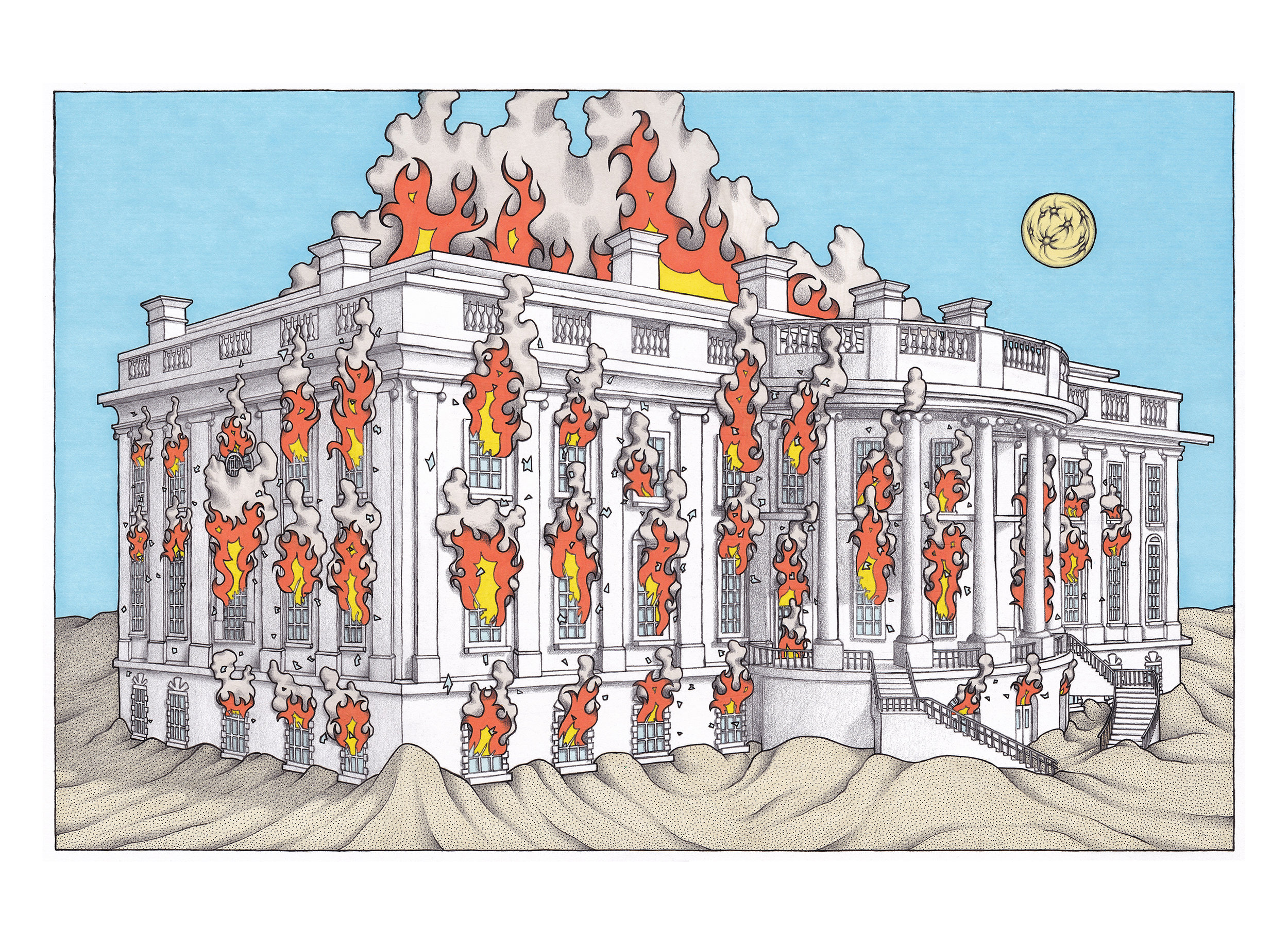 "ROB HESSLER - ""White House Fire""Pen, Marker, Pencil on Paper, 9"" x 15"" (Image Area) 17"" x 21"" (Exterior Frame Dimensions)"