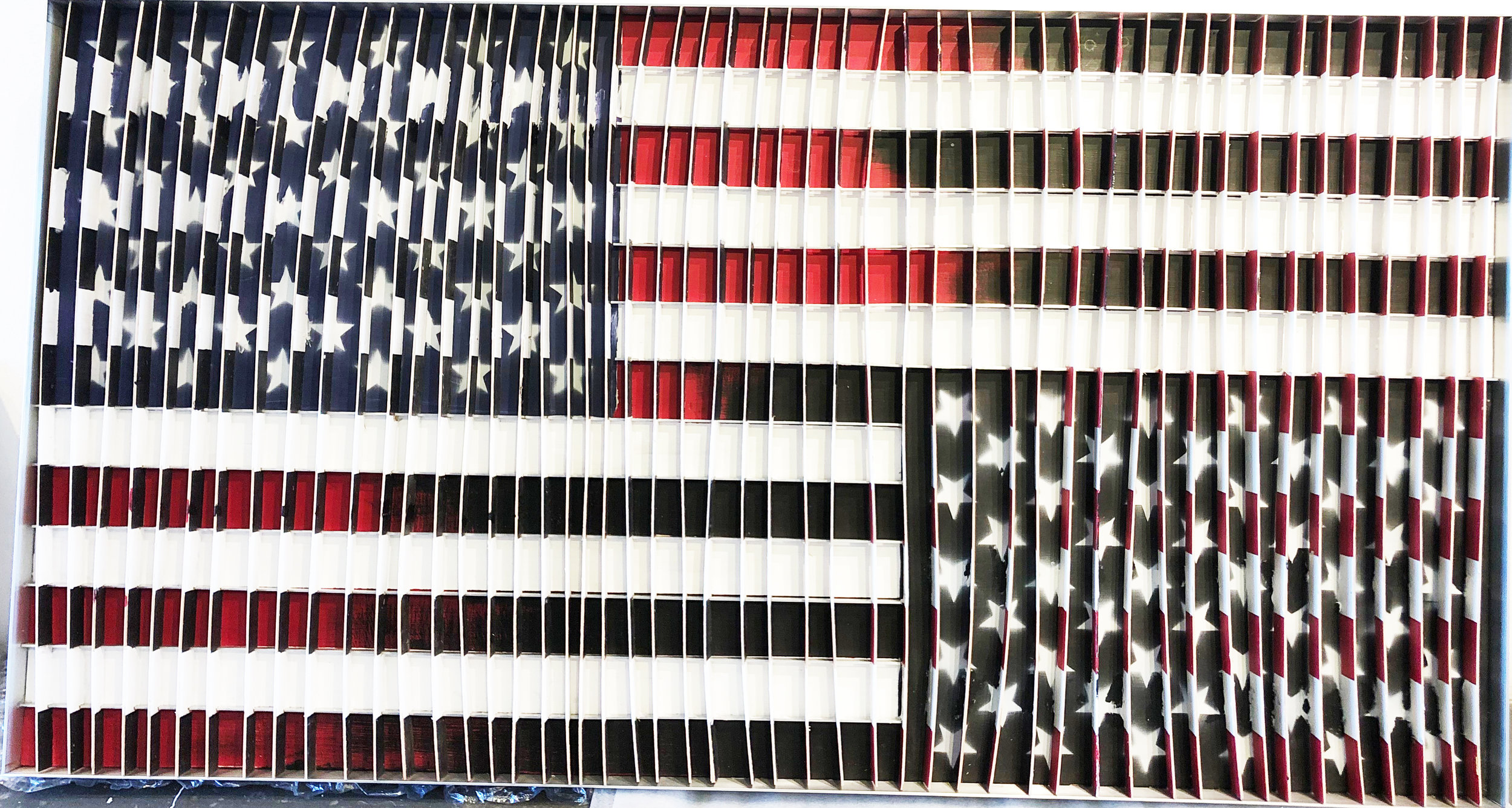 "TED SWIET - ""State of the Union""(Wood Paint, 36"" x 68"" x 3"")"