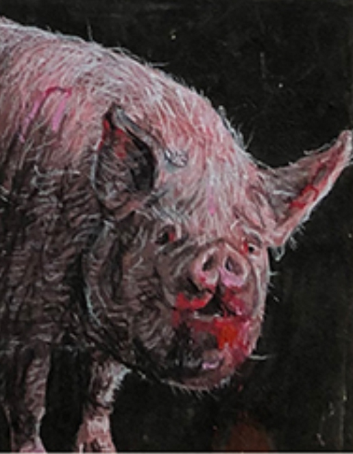 "- ""Putting Lipstick on a Pig (small)""(color pencils on paper, 18"" x 22"")"