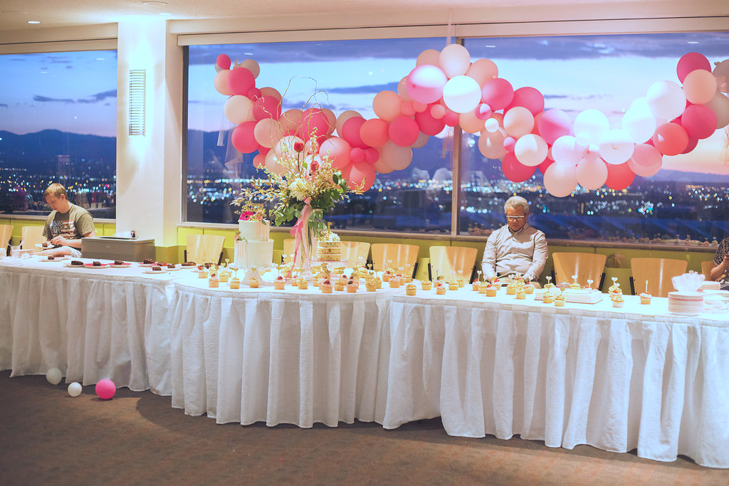 Event was held at the Crimson View Room at the University of Utah in Salt Lake City, UT. Cupcakes by  @thelittlecakeanddessertshop balloons donated by  @mypapercrush floral arrangement by  @willowspecialtyflorist cakes by  @annie_bee_cakery
