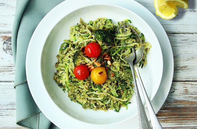 broccoli pest courgetti cherry tomatoes vegan dinner salad plant based