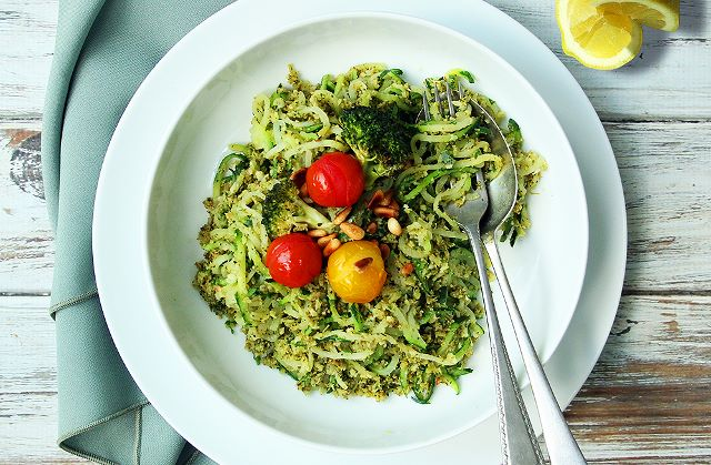 Roast Broccoli 'Pesto' Courgetti with Blistered Cherry Tomatoes
