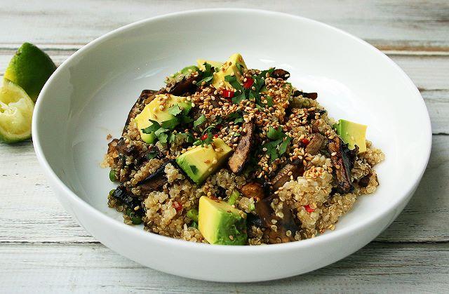 quinoa mushrooms avocado vegan dinner plant based