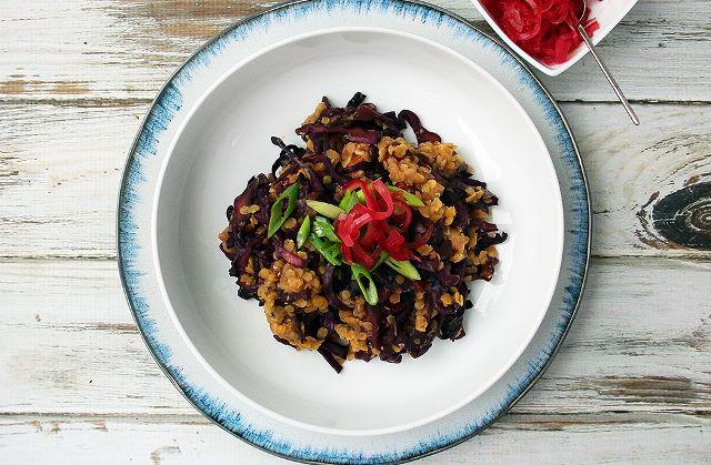 red cabbage lentils pickled onion vegan plant based