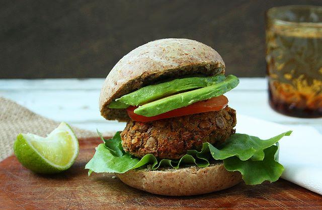 Wholemeal Vegan Burger Buns with Lentil & Carrot Patties
